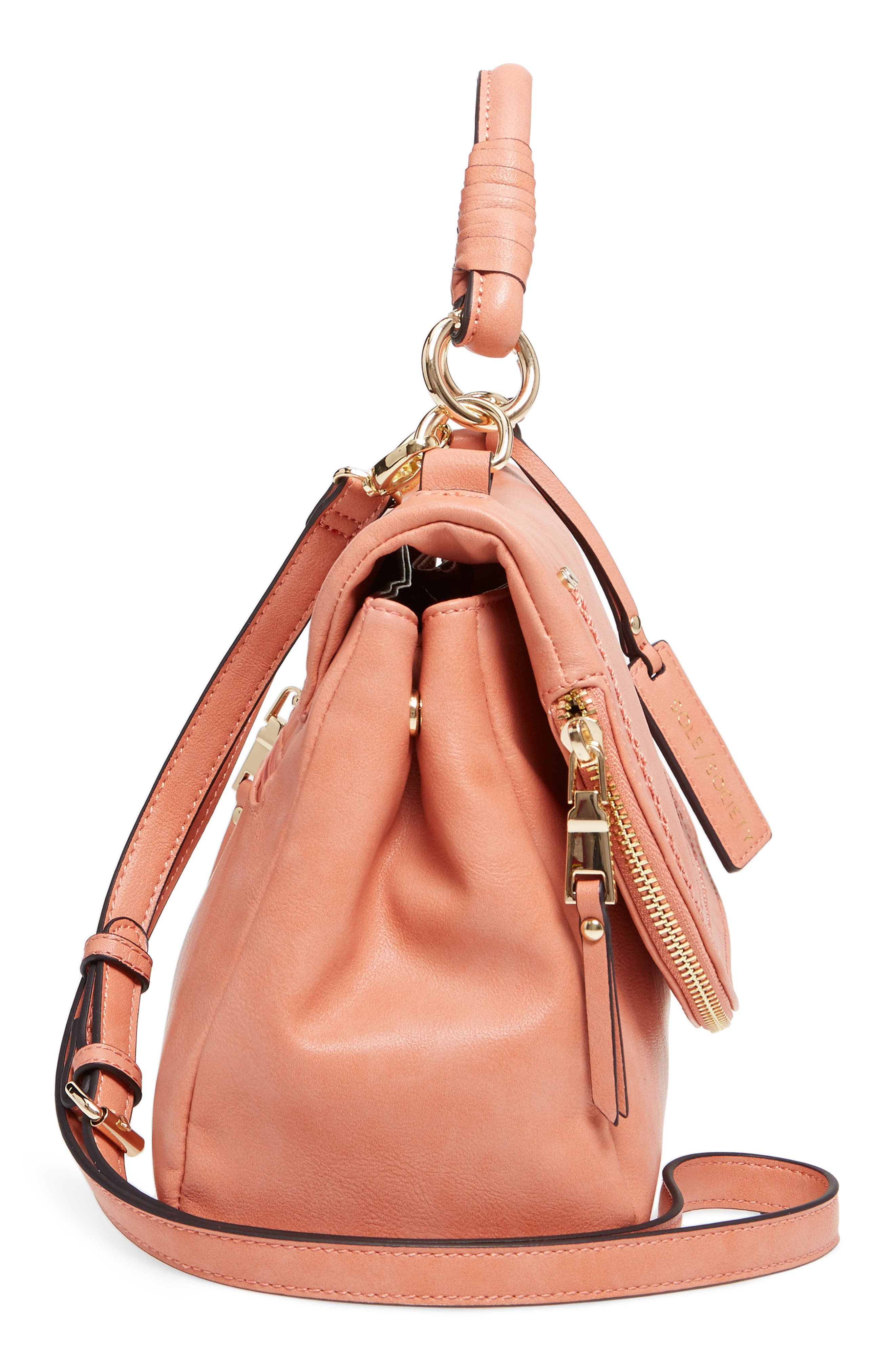 Top Handle Faux Leather Crossbody Bag,                             Alternate thumbnail 5, color,                             Deep Coral