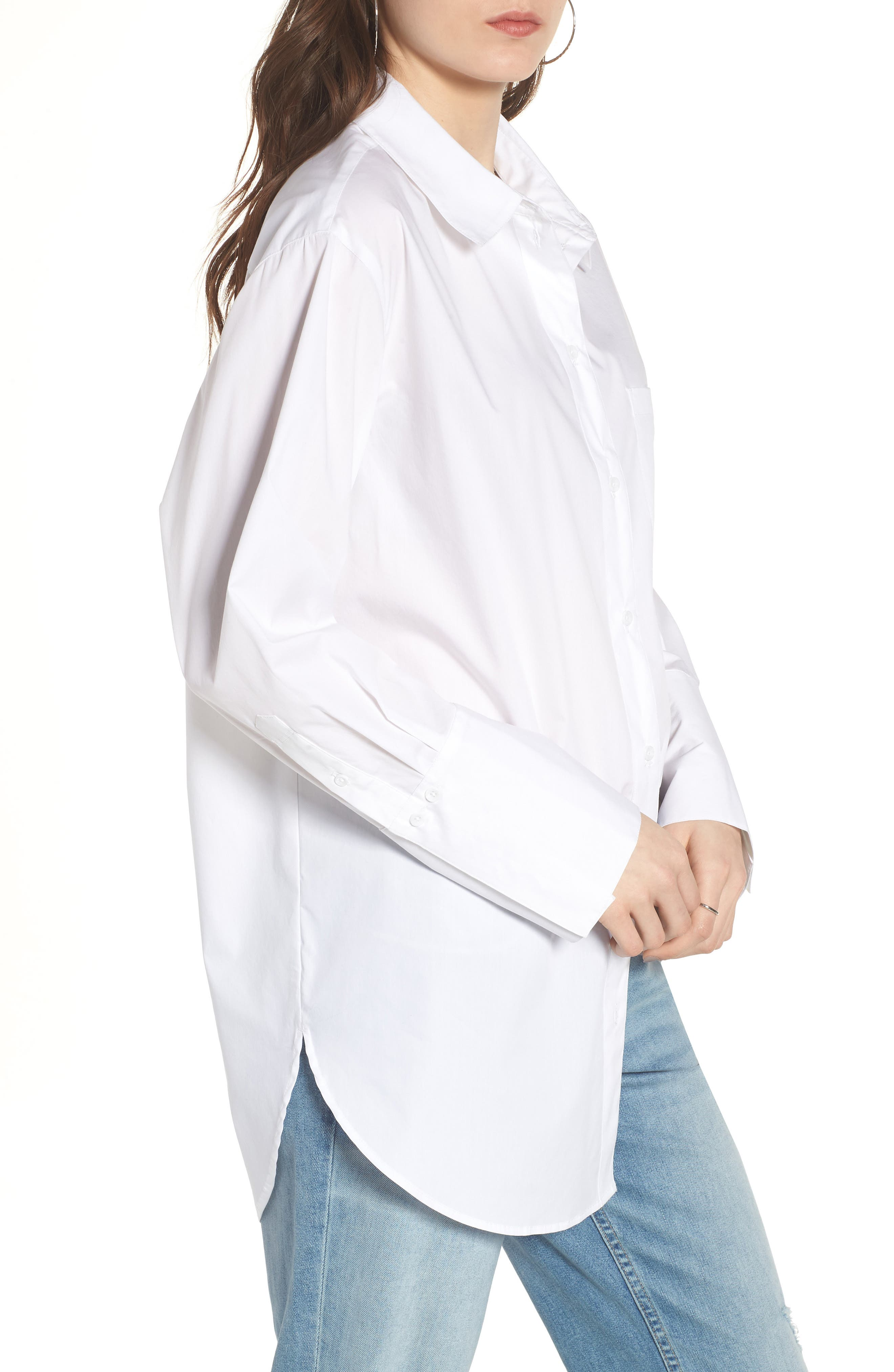 Loose Sleeve Poplin Tunic Shirt,                             Alternate thumbnail 3, color,                             White