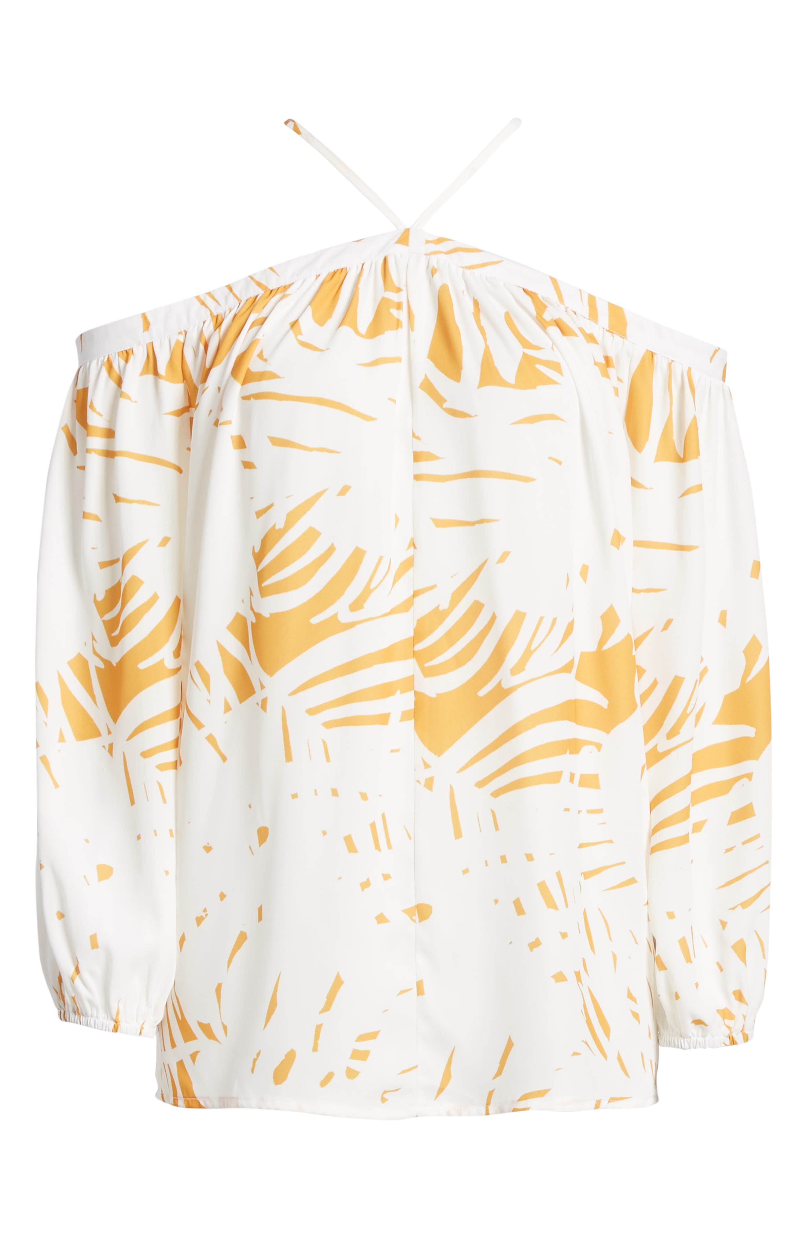 Bishop + Young Ana Palm Print Off the Shoulder Top,                             Alternate thumbnail 7, color,                             Riviera Print