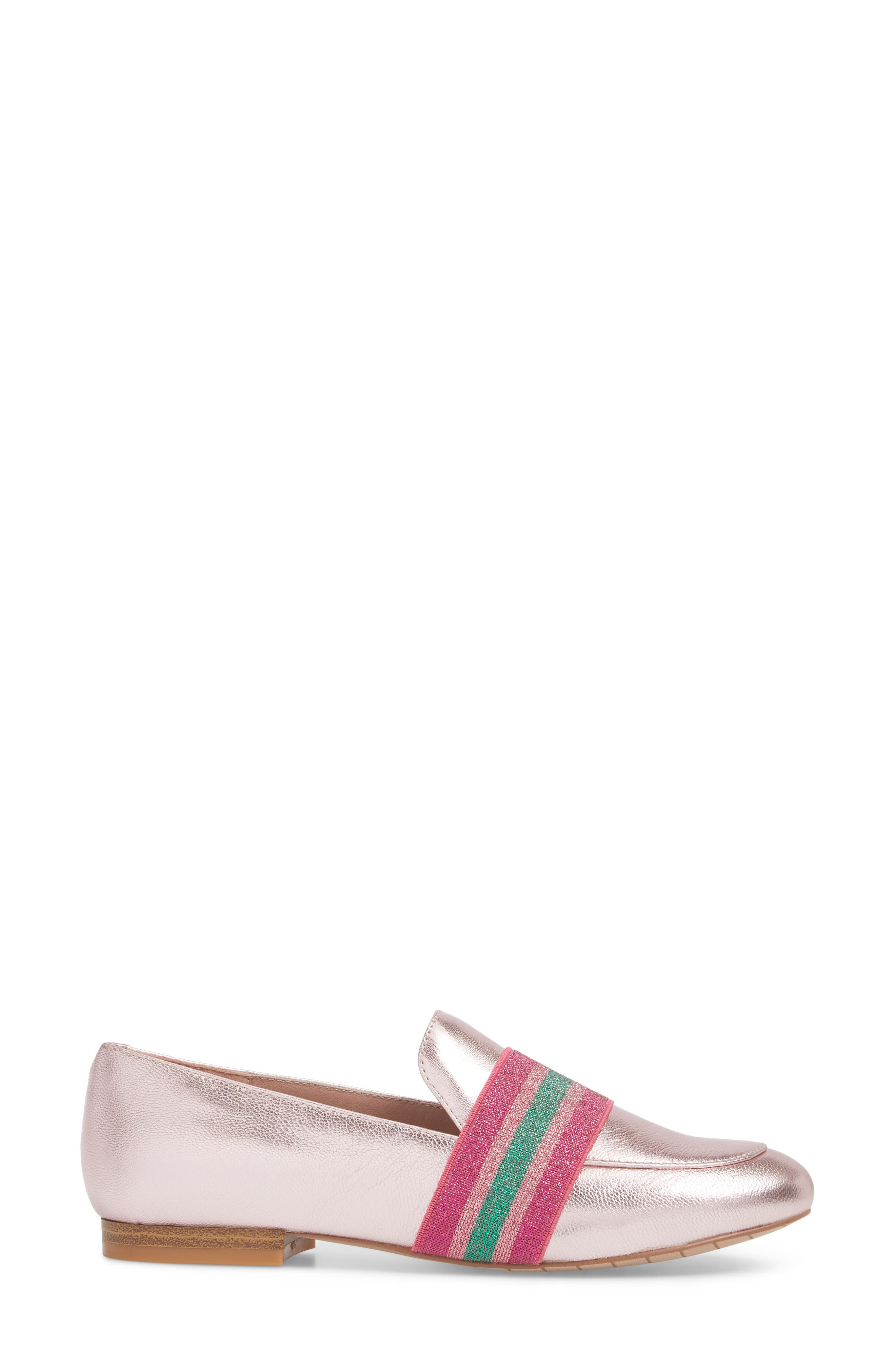 Walden Loafer,                             Alternate thumbnail 3, color,                             Pink Metallic Leather