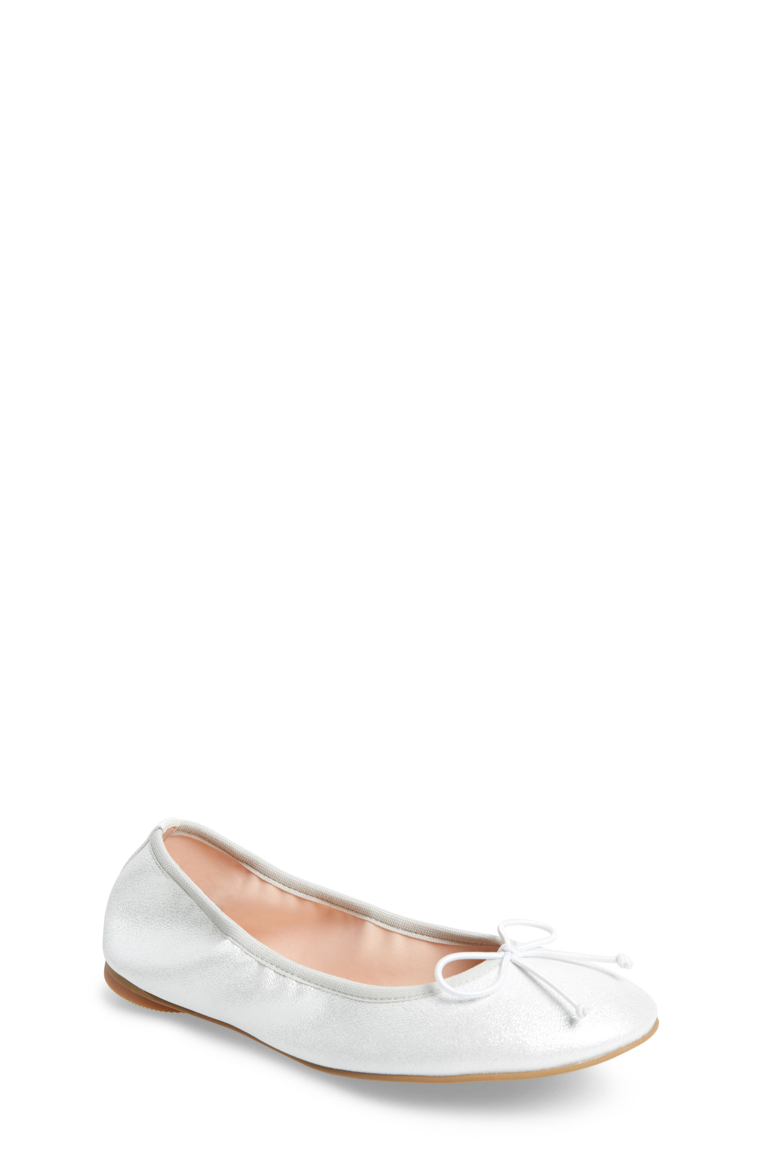Bella Ballet Flat,                         Main,                         color, Silver Shimmer Faux Leather