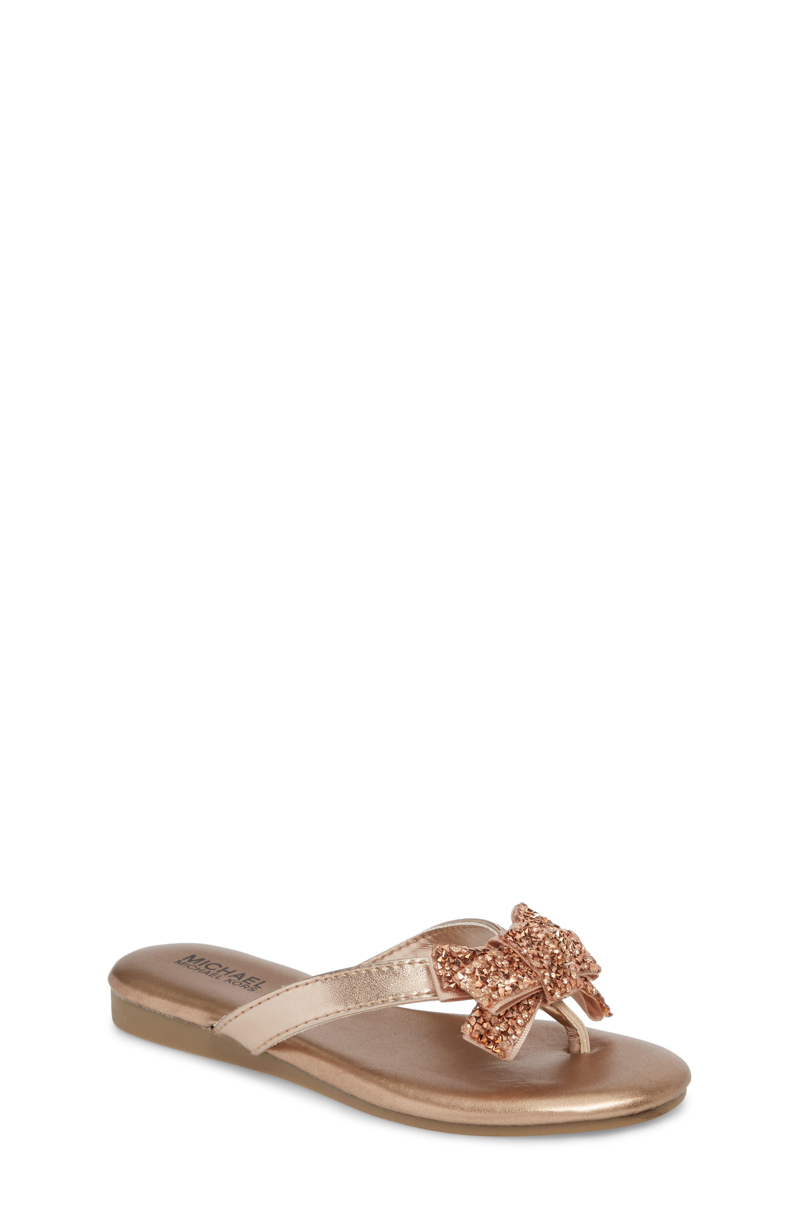 Embellished Bow Flip Flop,                             Main thumbnail 1, color,                             Rose Gold