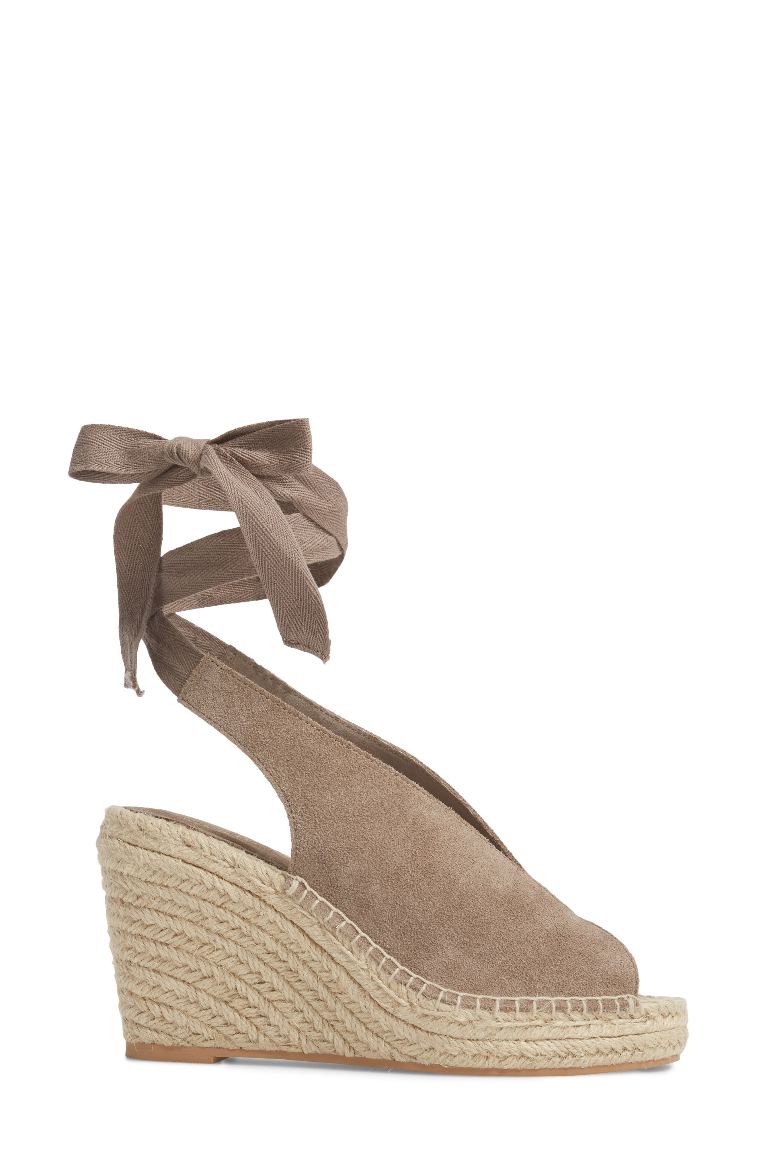Interrelated Espadrille Wedge Sandal,                             Alternate thumbnail 3, color,                             Taupe Suede