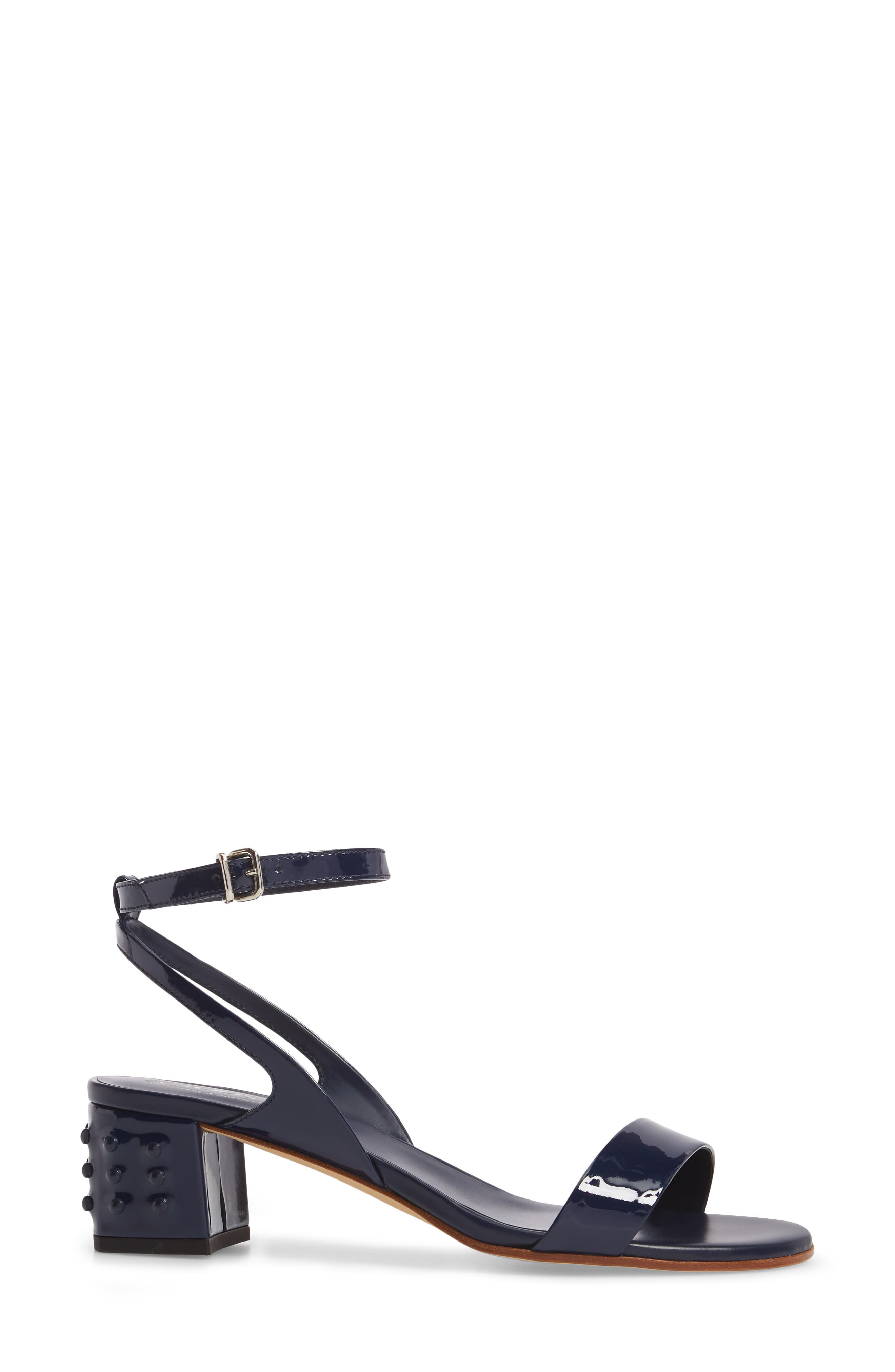 Gommini Block Heel Sandal,                             Alternate thumbnail 3, color,                             Navy