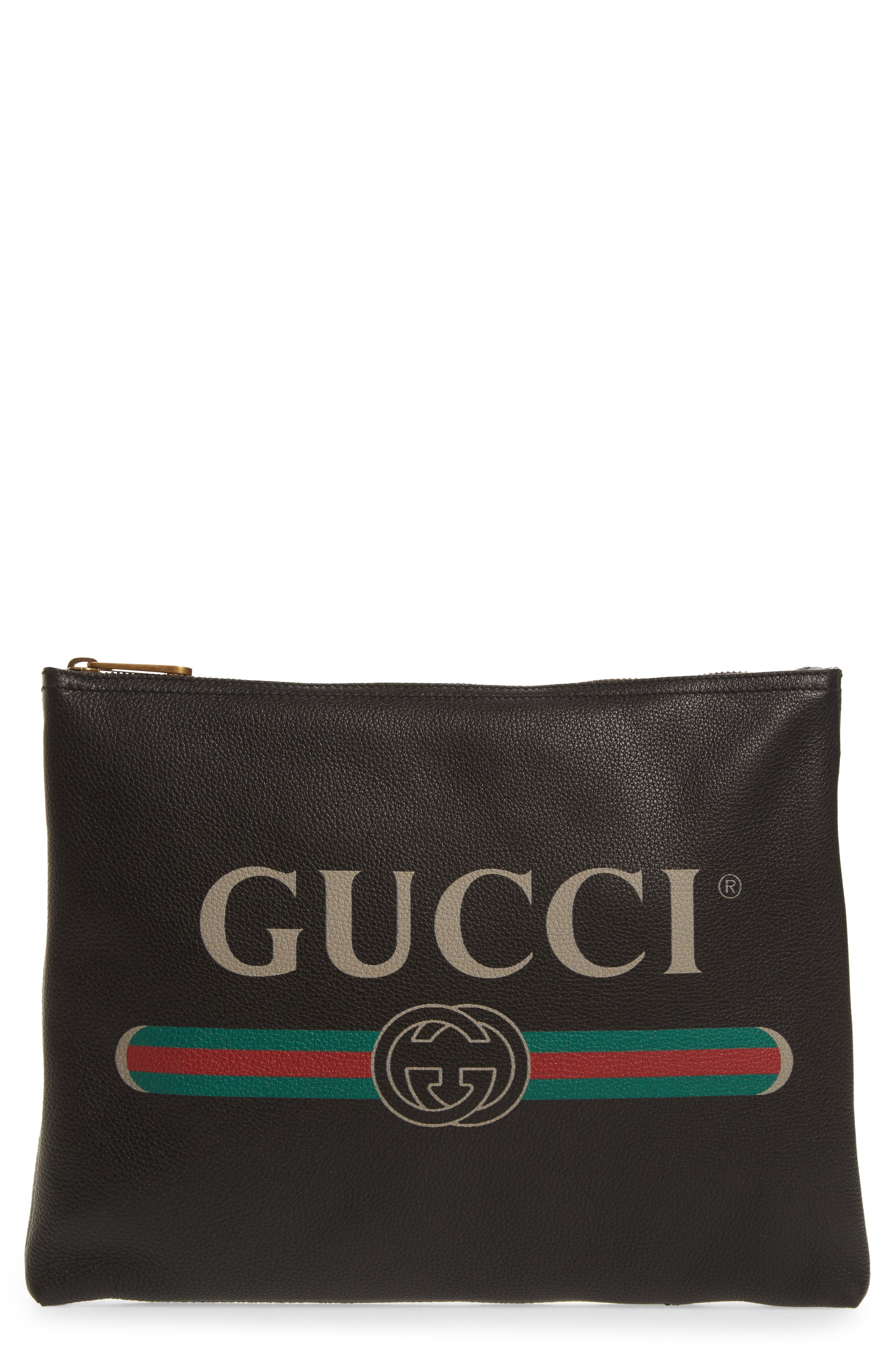 Main Image - Gucci Logo Leather Pouch
