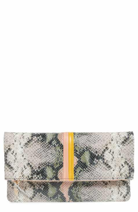 Clare V. Zebra Stripe Snake Embossed Leather Foldover Clutch