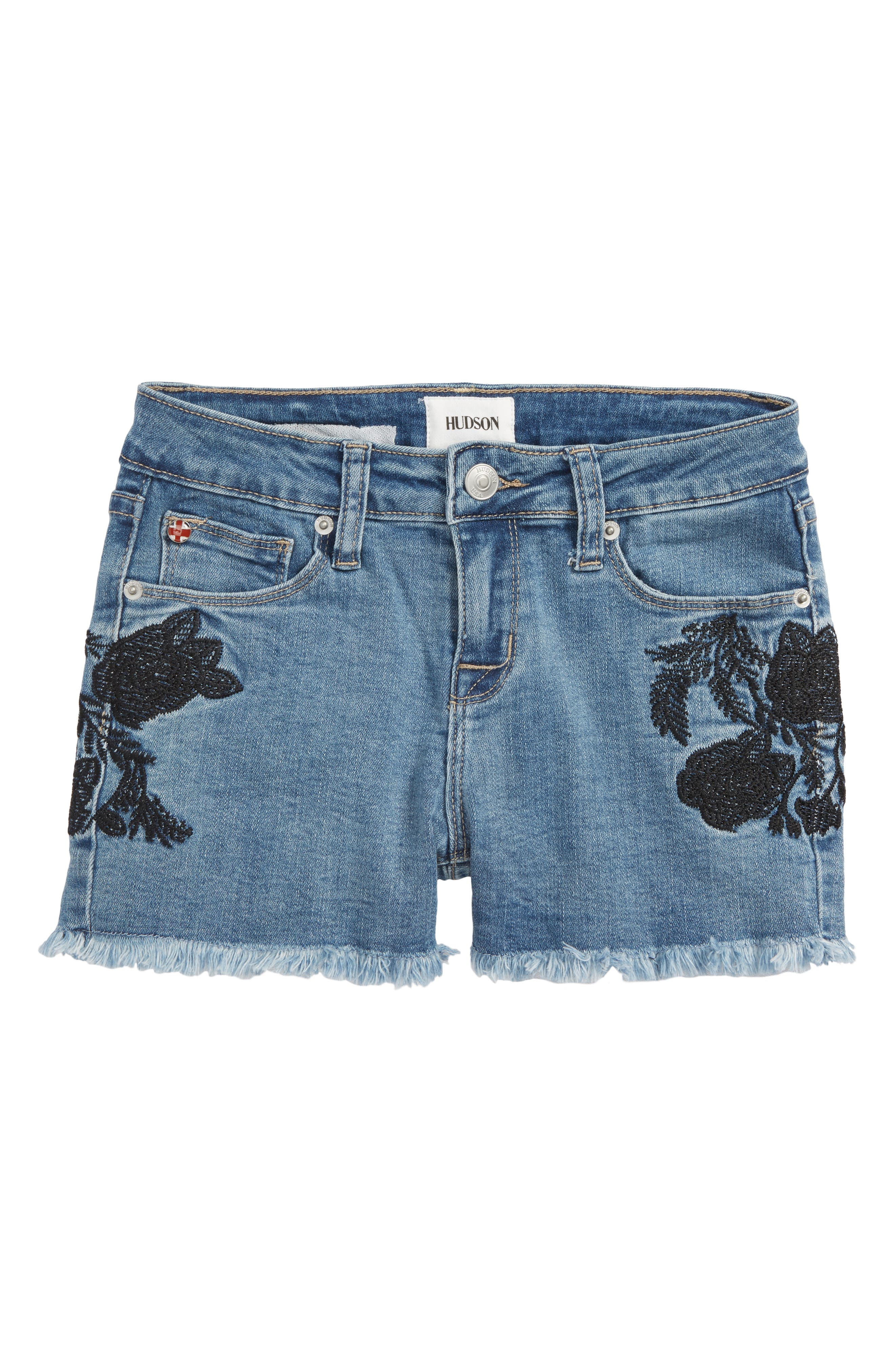 Floral Embroidery Frayed Hem Shorts,                             Main thumbnail 1, color,                             Crown Blue