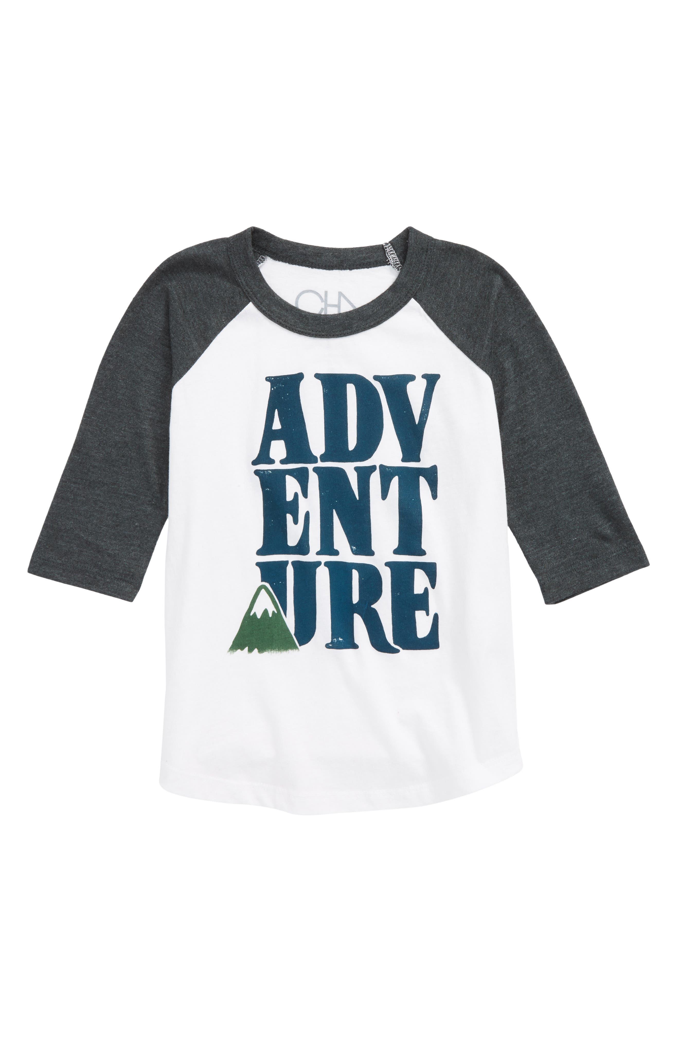 Adventure Raglan T-Shirt,                         Main,                         color, White/ Evergreen