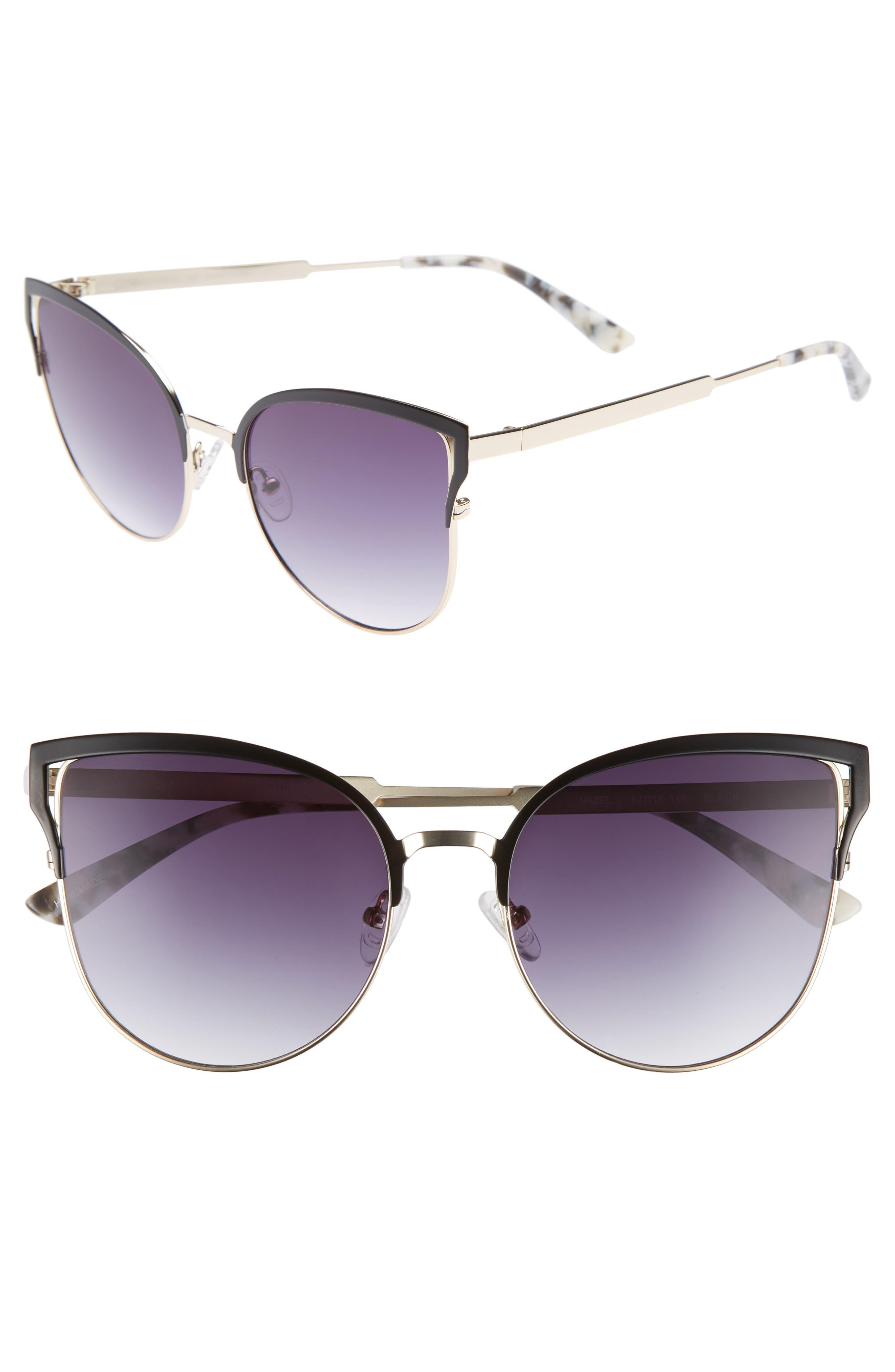 Hazel 57mm Cat Eye Sunglasses,                             Main thumbnail 1, color,                             Black