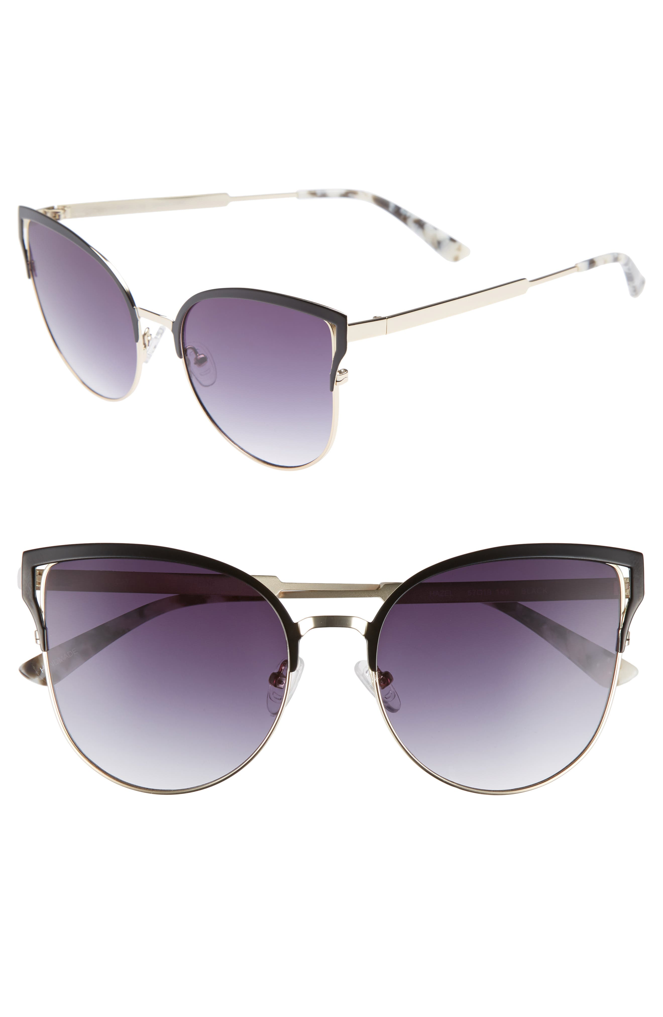 Hazel 57mm Cat Eye Sunglasses,                         Main,                         color, Black