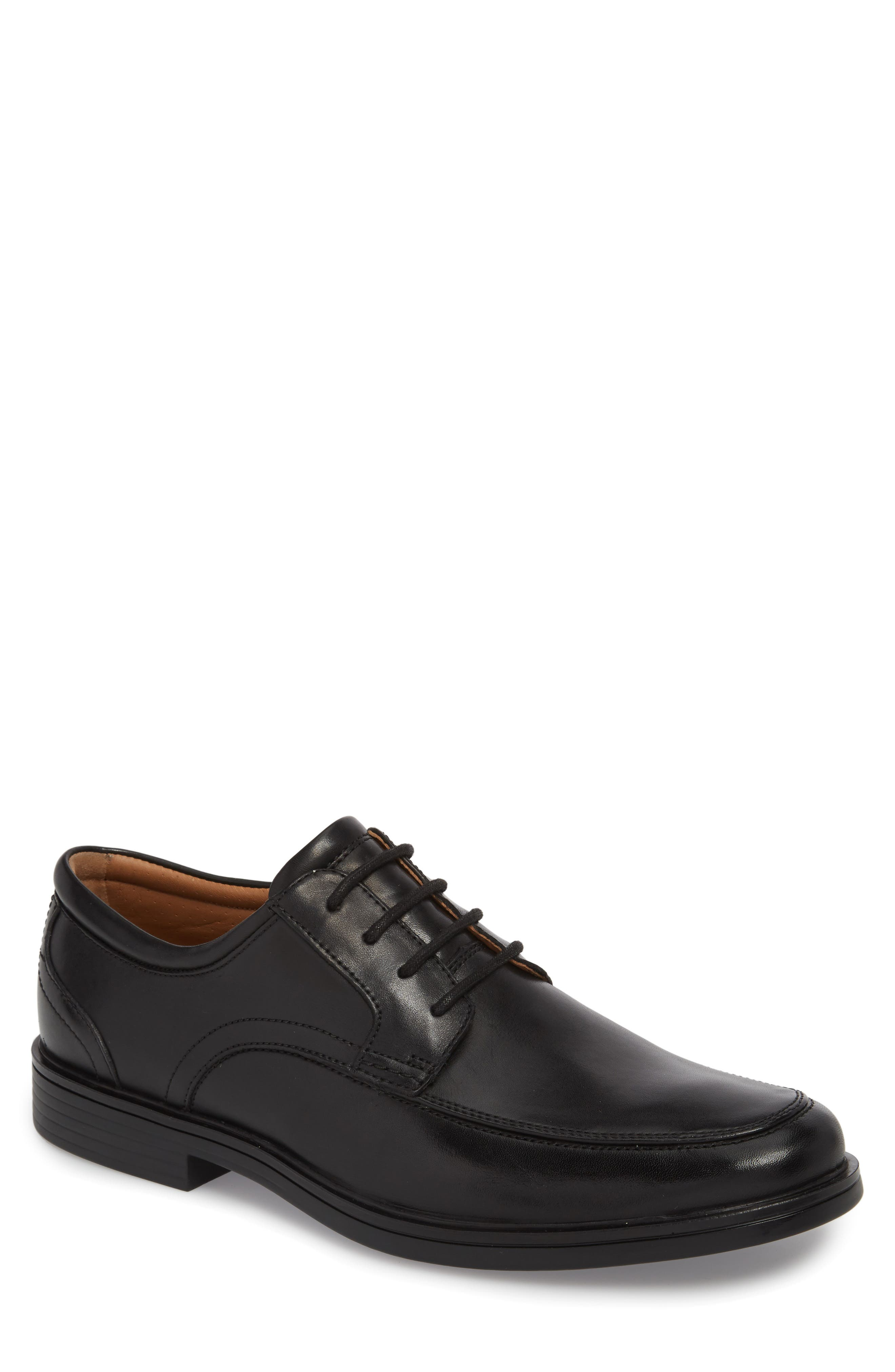 Unaldric Moc Toe Derby,                             Main thumbnail 1, color,                             Black Leather