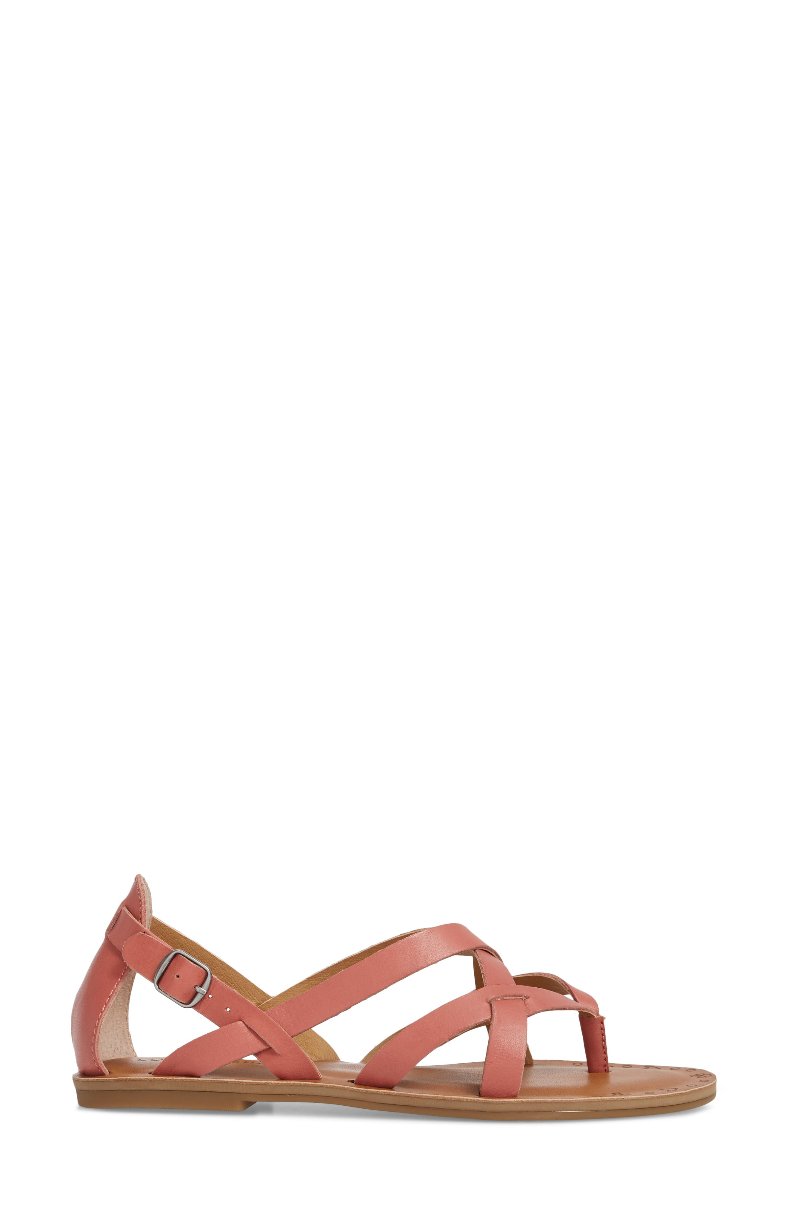 Ainsley Flat Sandal,                             Alternate thumbnail 3, color,                             Canyon Rose Leather