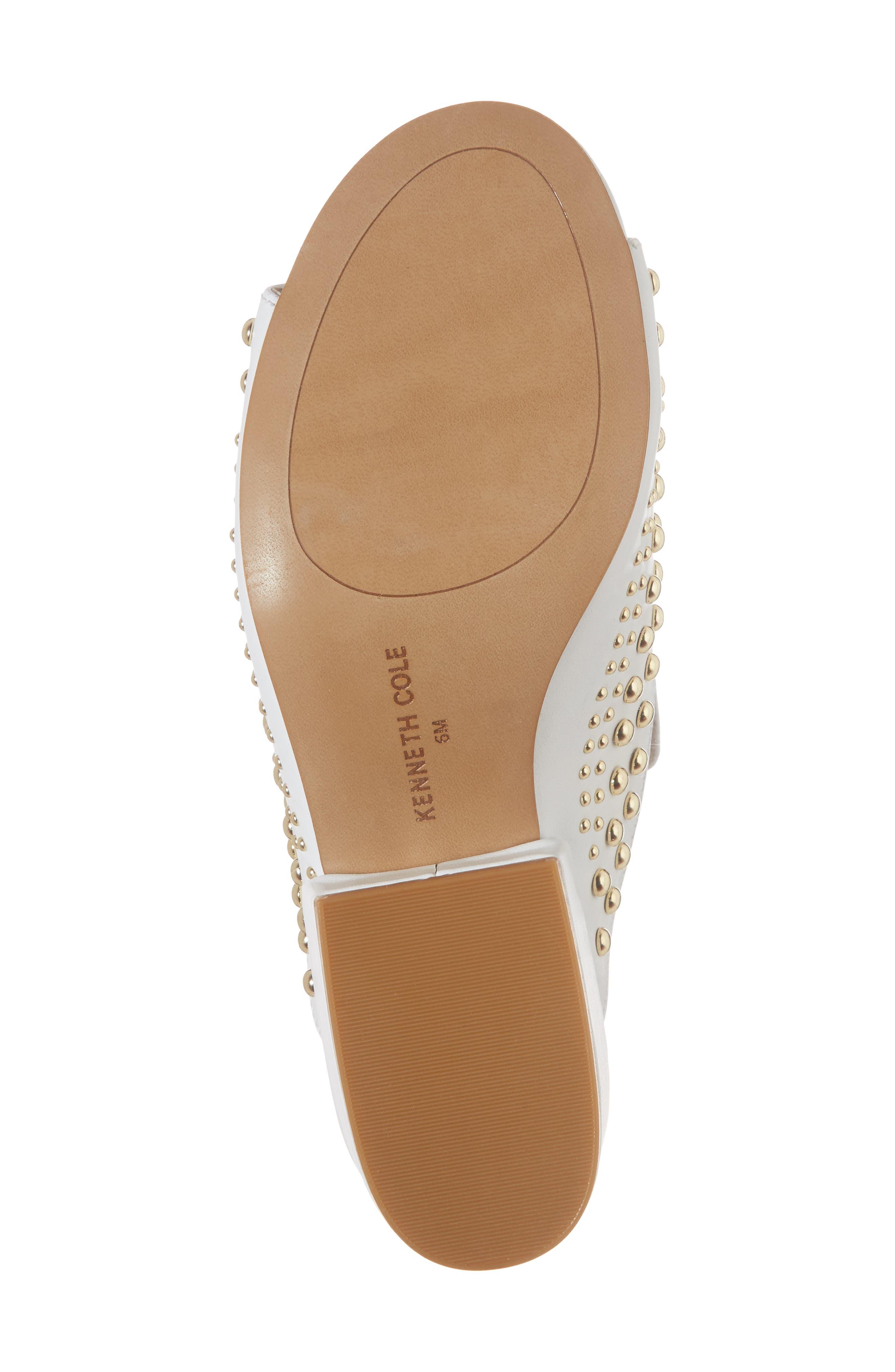 Farley Studded Slide Sandal,                             Alternate thumbnail 6, color,                             White Leather