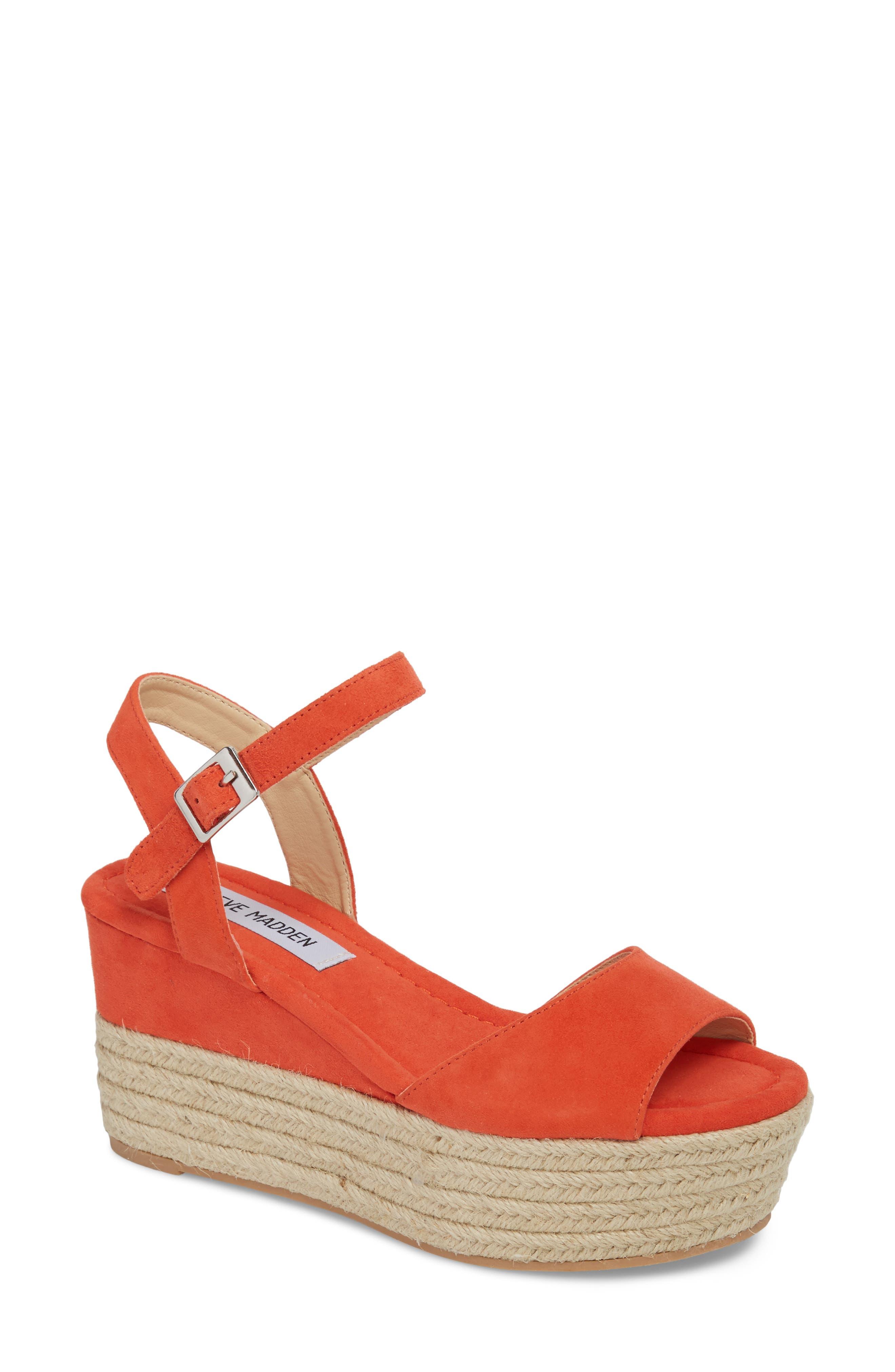 Kianna Espadrille Wedge Sandal,                             Main thumbnail 1, color,                             Coral Suede