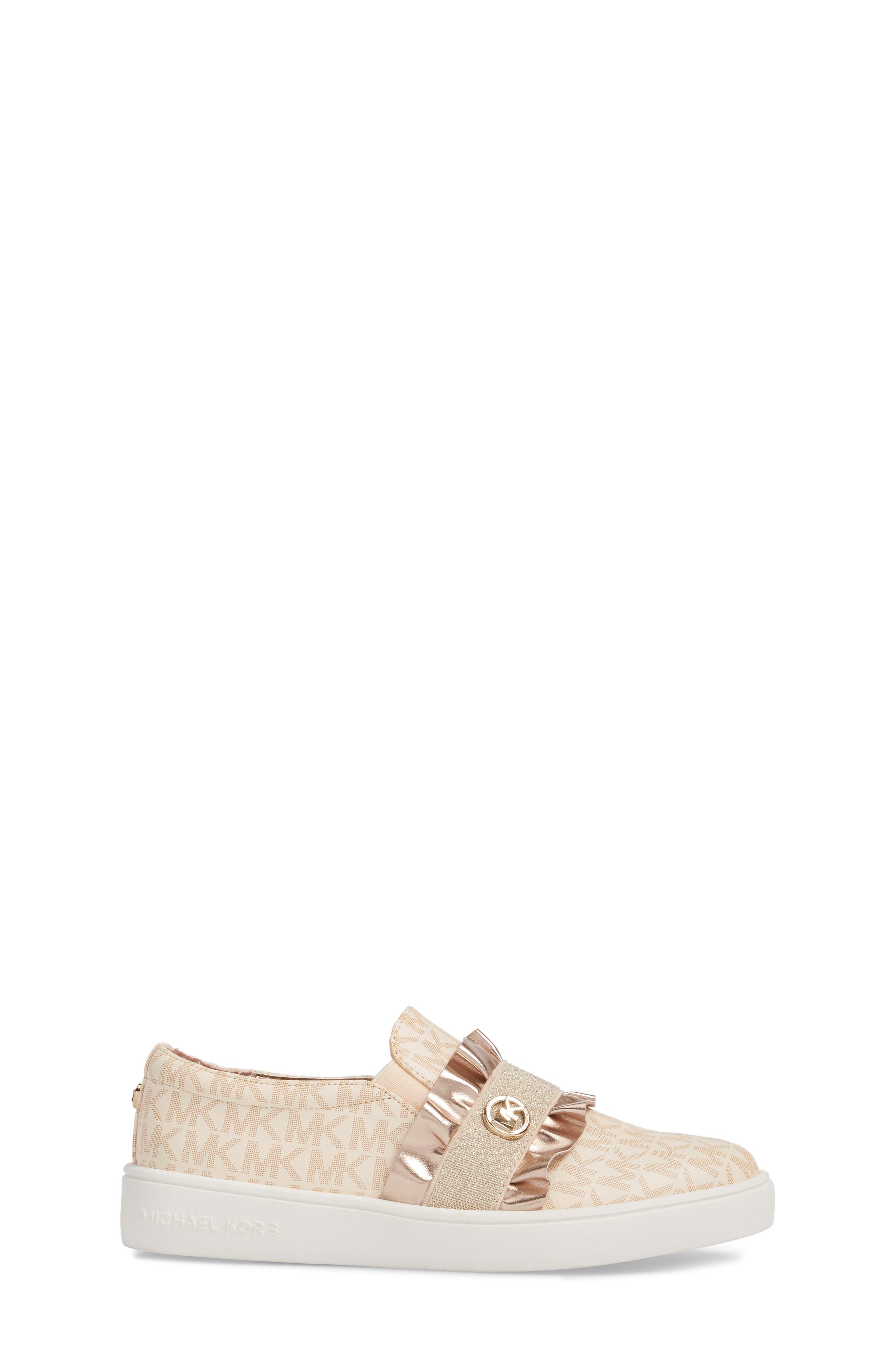 Ivy Riff Ruffle Sneaker,                             Alternate thumbnail 3, color,                             Rose Gold
