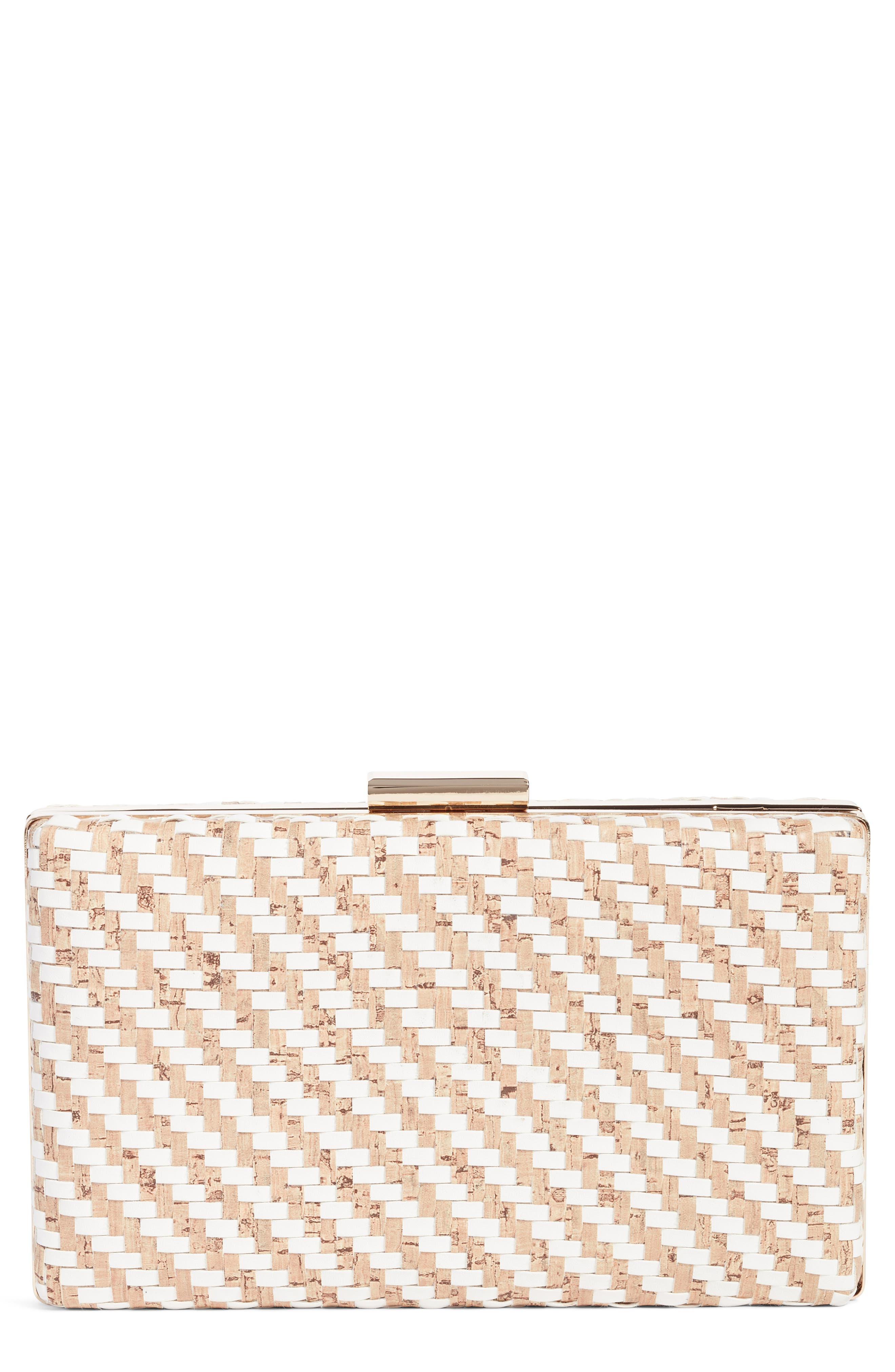 Woven Cork & Faux Leather Clutch,                             Main thumbnail 1, color,                             White