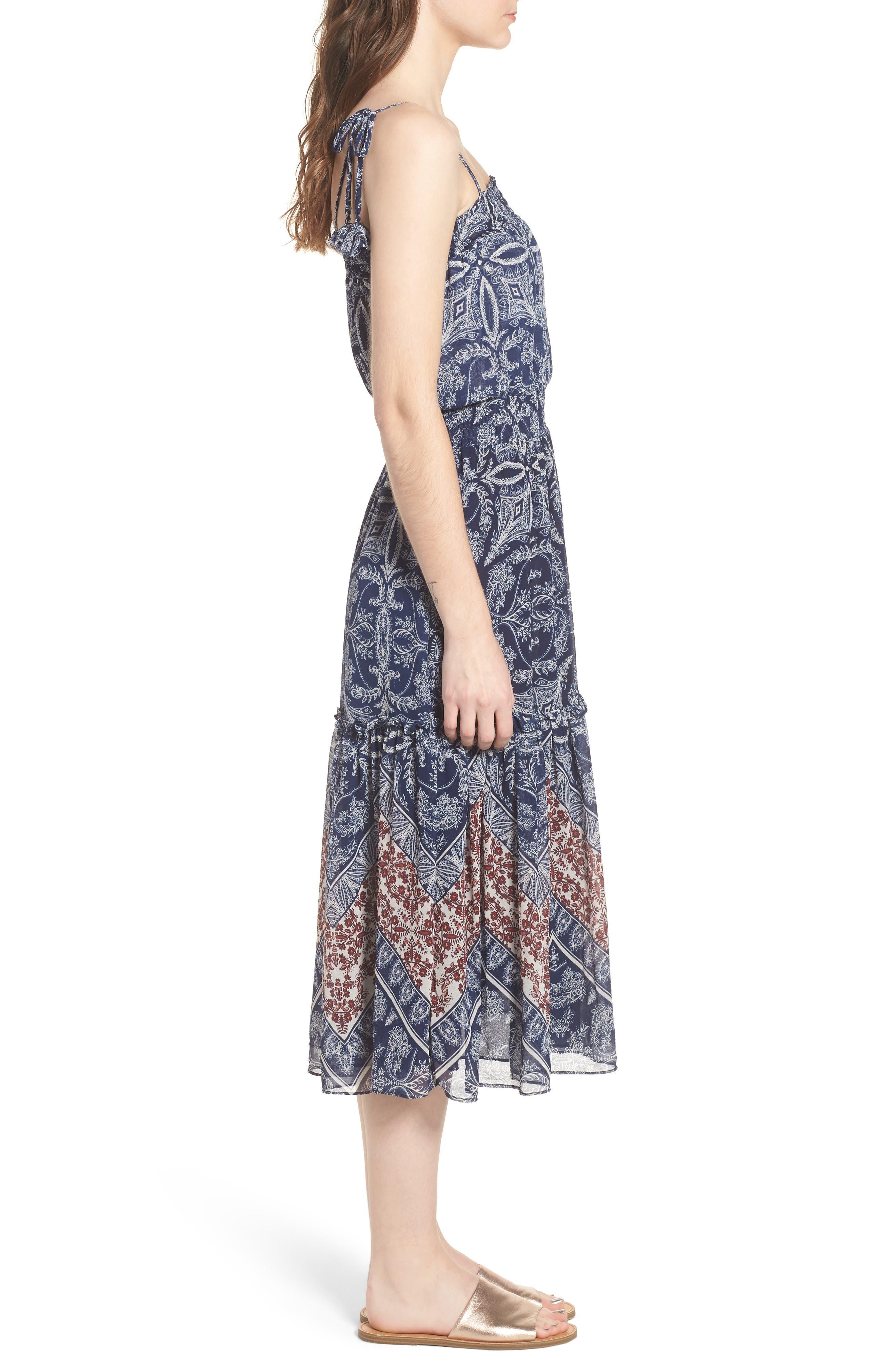 Adel Print Midi Dress,                             Alternate thumbnail 3, color,                             Blue Fe3