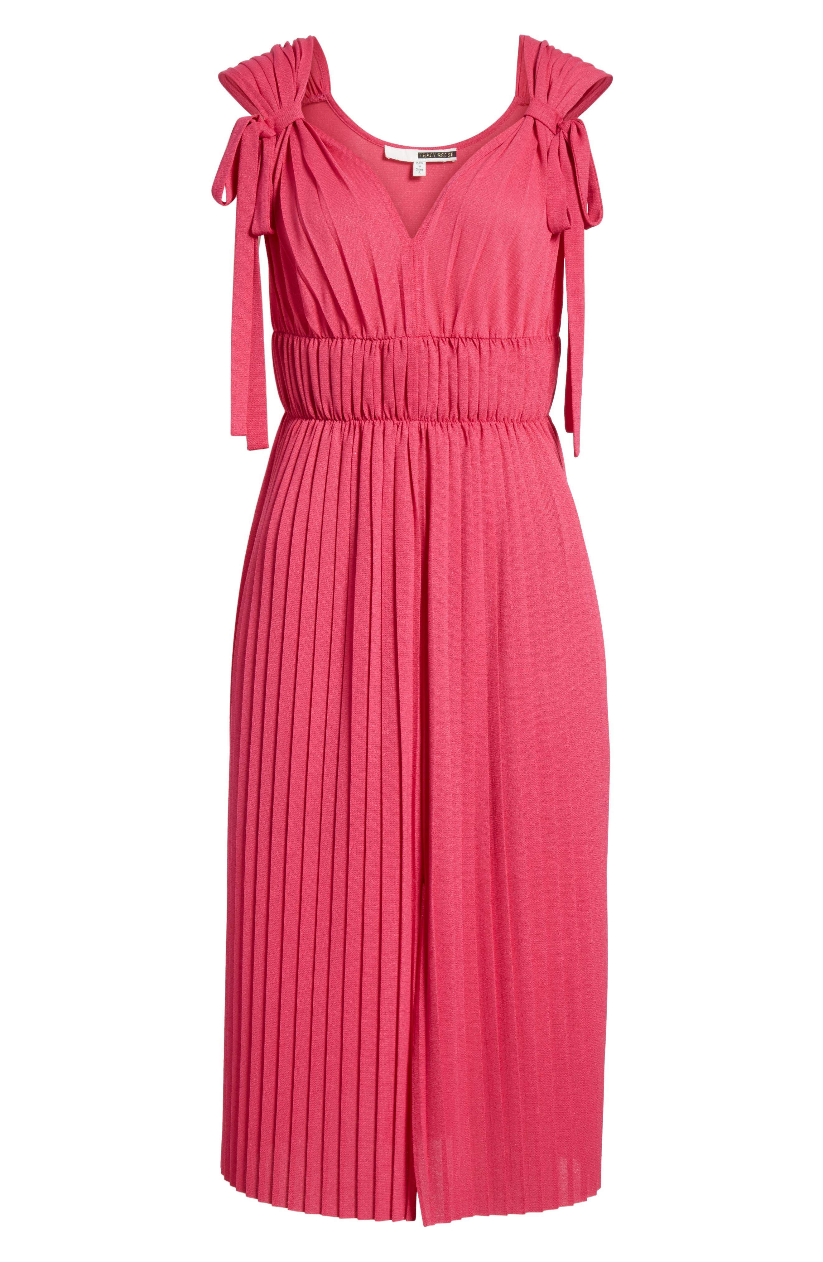 Grecian Pleat Dress,                             Alternate thumbnail 6, color,                             Cyclamen