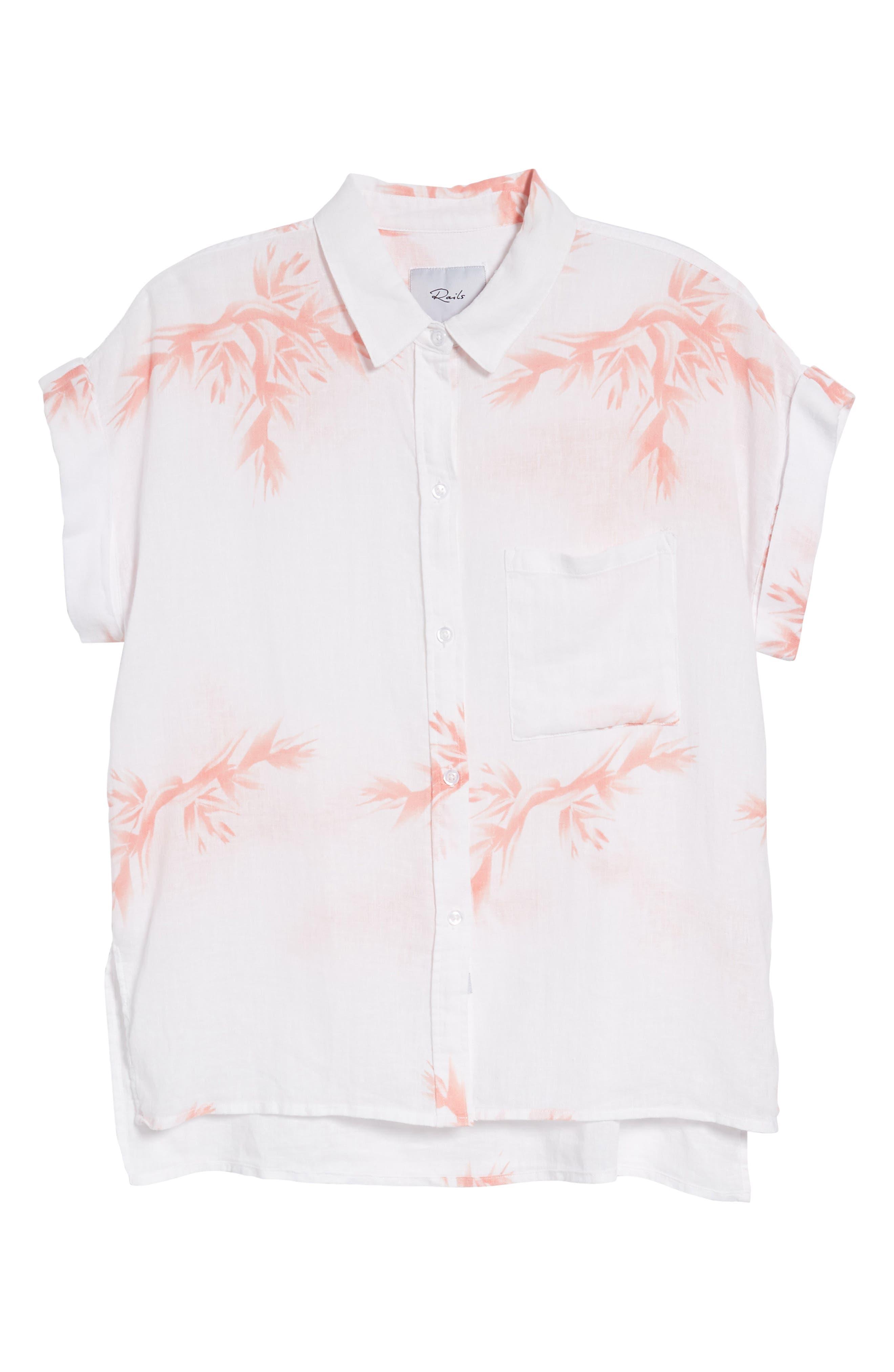 Whitney Birds of Paradise Linen Blend Shirt,                             Alternate thumbnail 7, color,                             Blush Birds Of Paradise