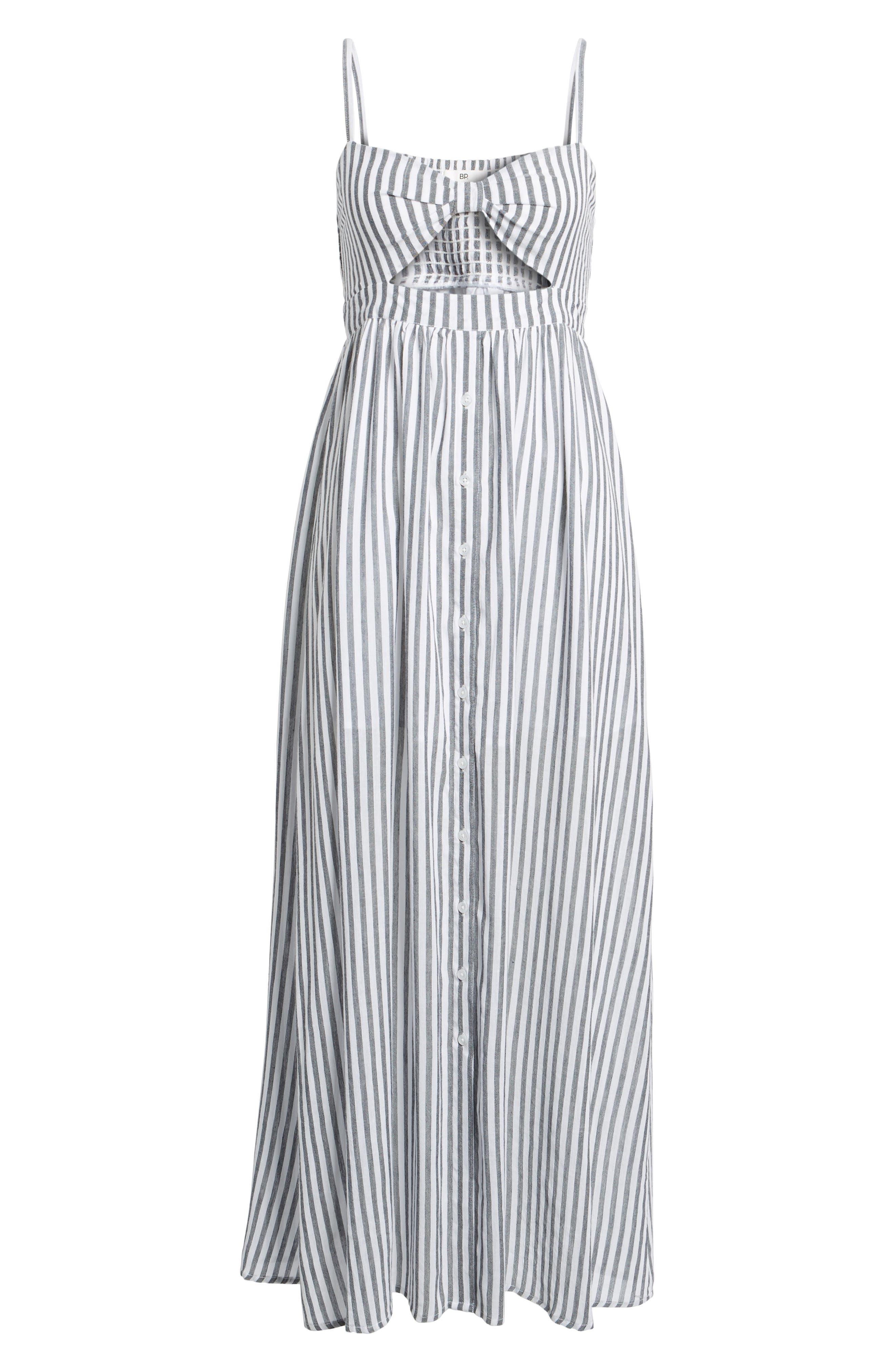 Stripe Button Front Maxi Dress,                             Alternate thumbnail 6, color,                             White City Stripe