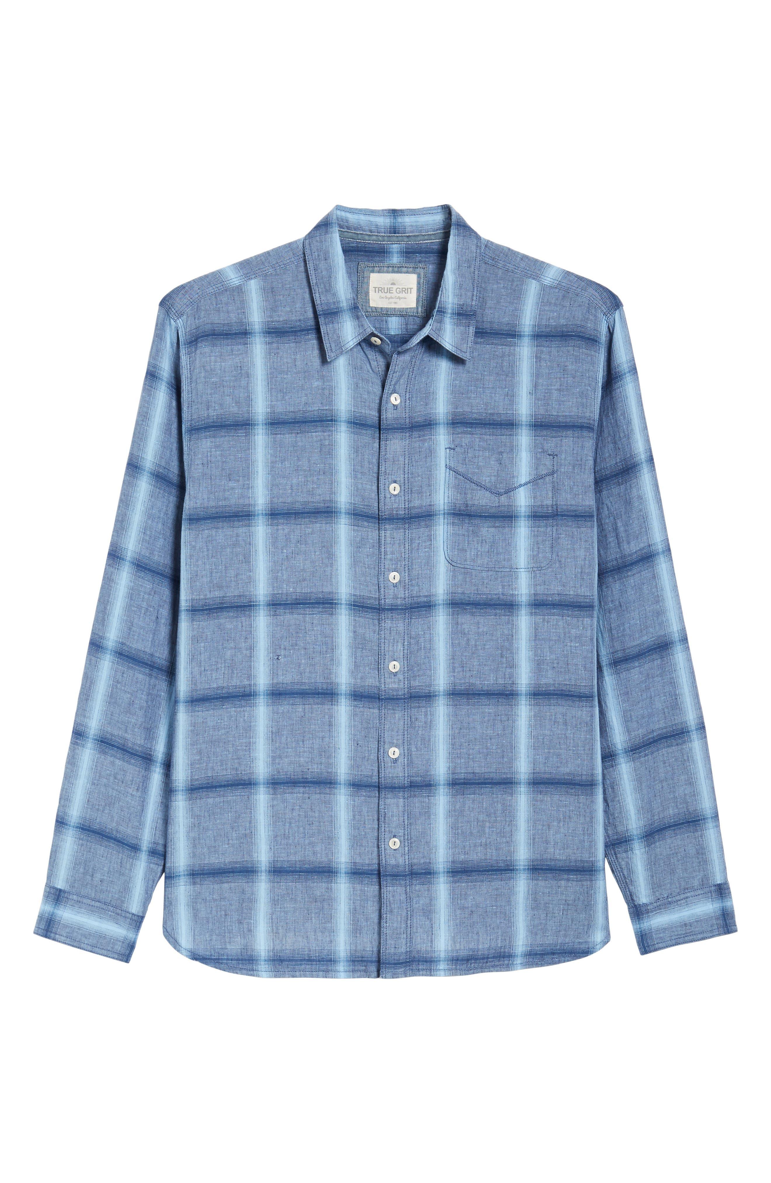 Alternate Image 6  - True Grit Rincon Plaid Linen Blend Chambray Sport Shirt