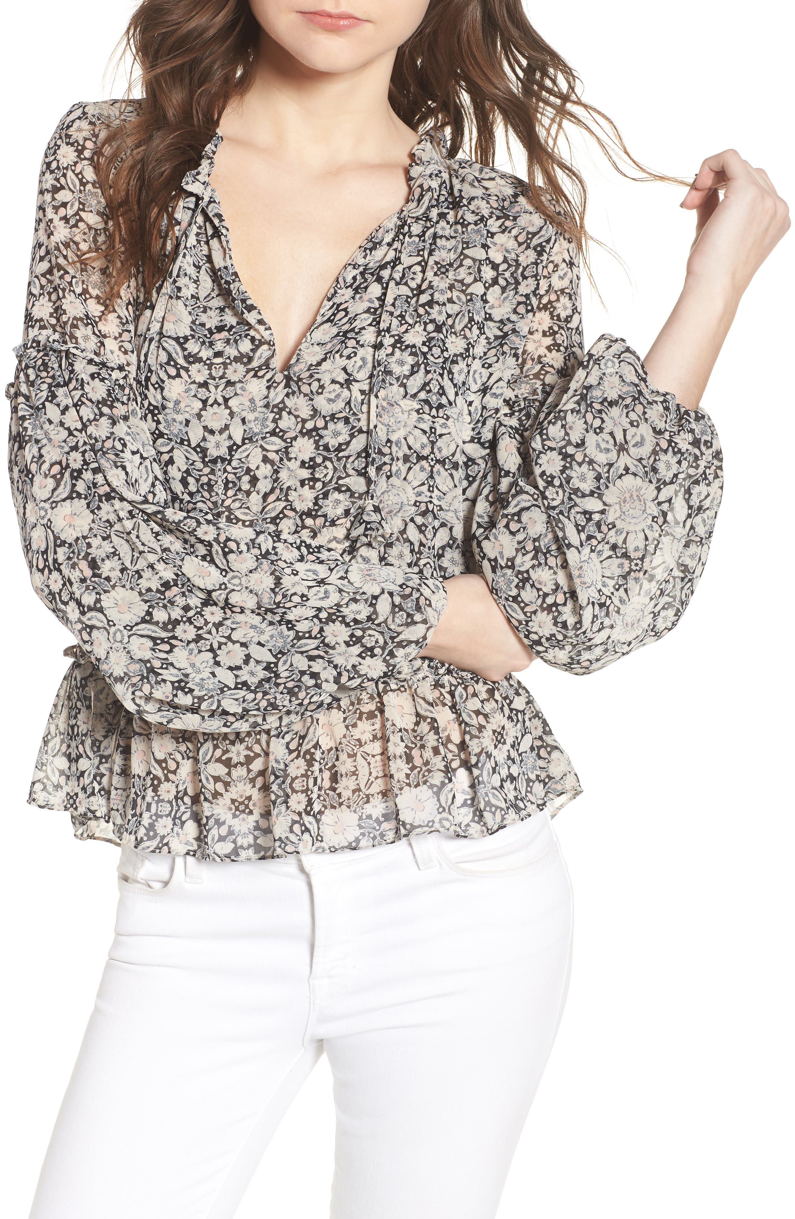 Dominik Floral Peasant Top,                         Main,                         color, Multi Fe8