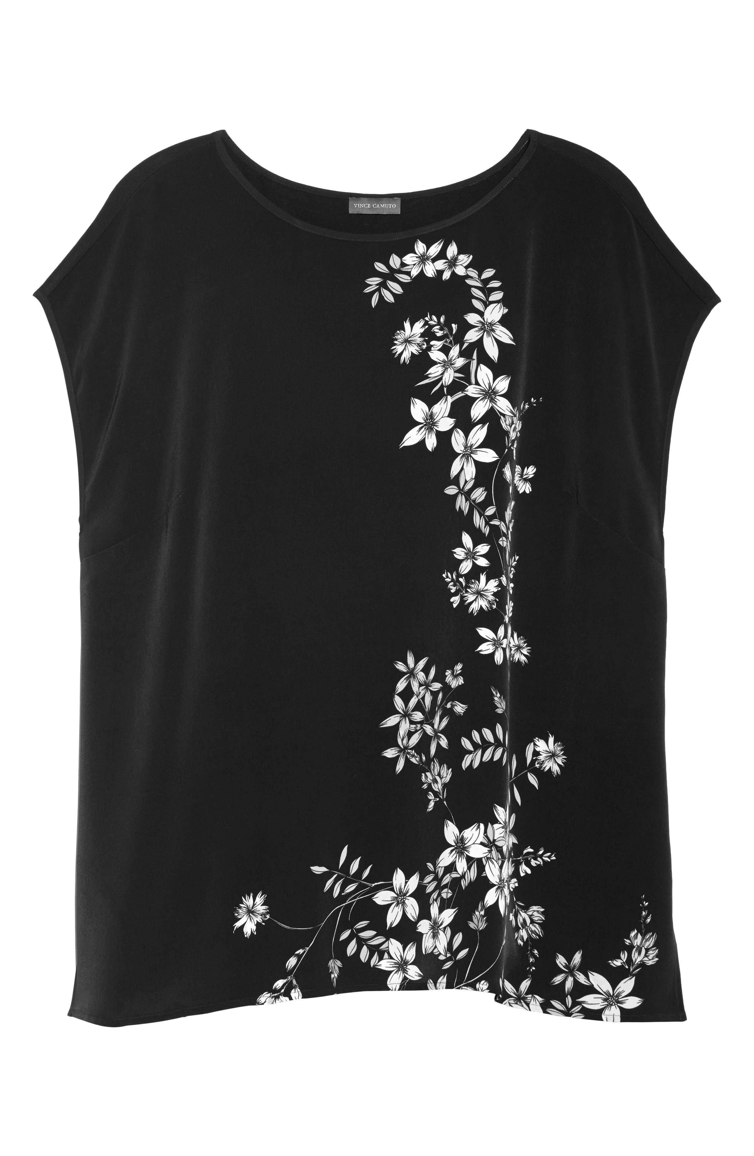 Floral Print Top,                             Alternate thumbnail 6, color,                             Rich Black