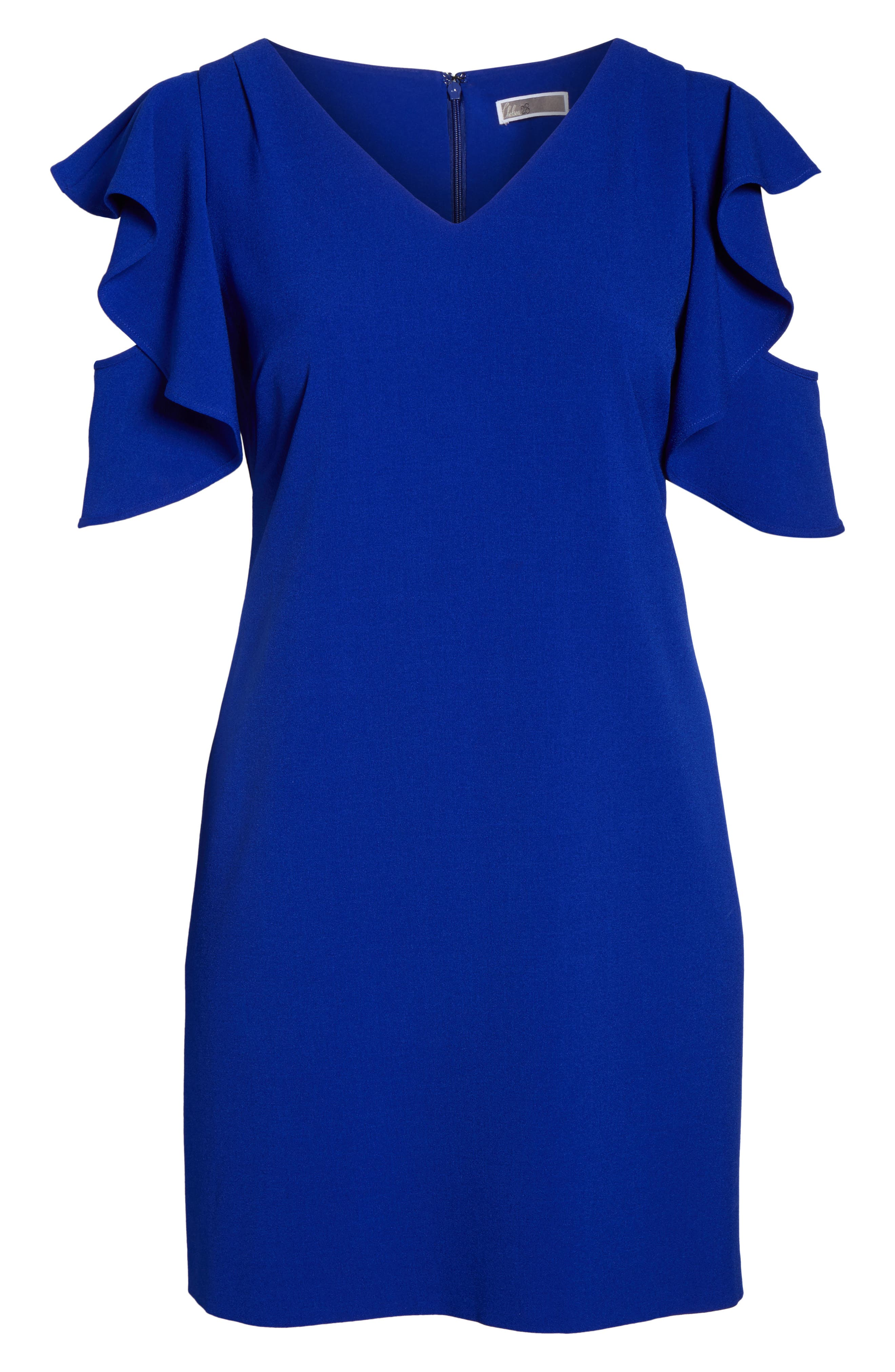 Ruffle Cold Shoulder Shift Dress,                             Alternate thumbnail 6, color,                             Blue Surf