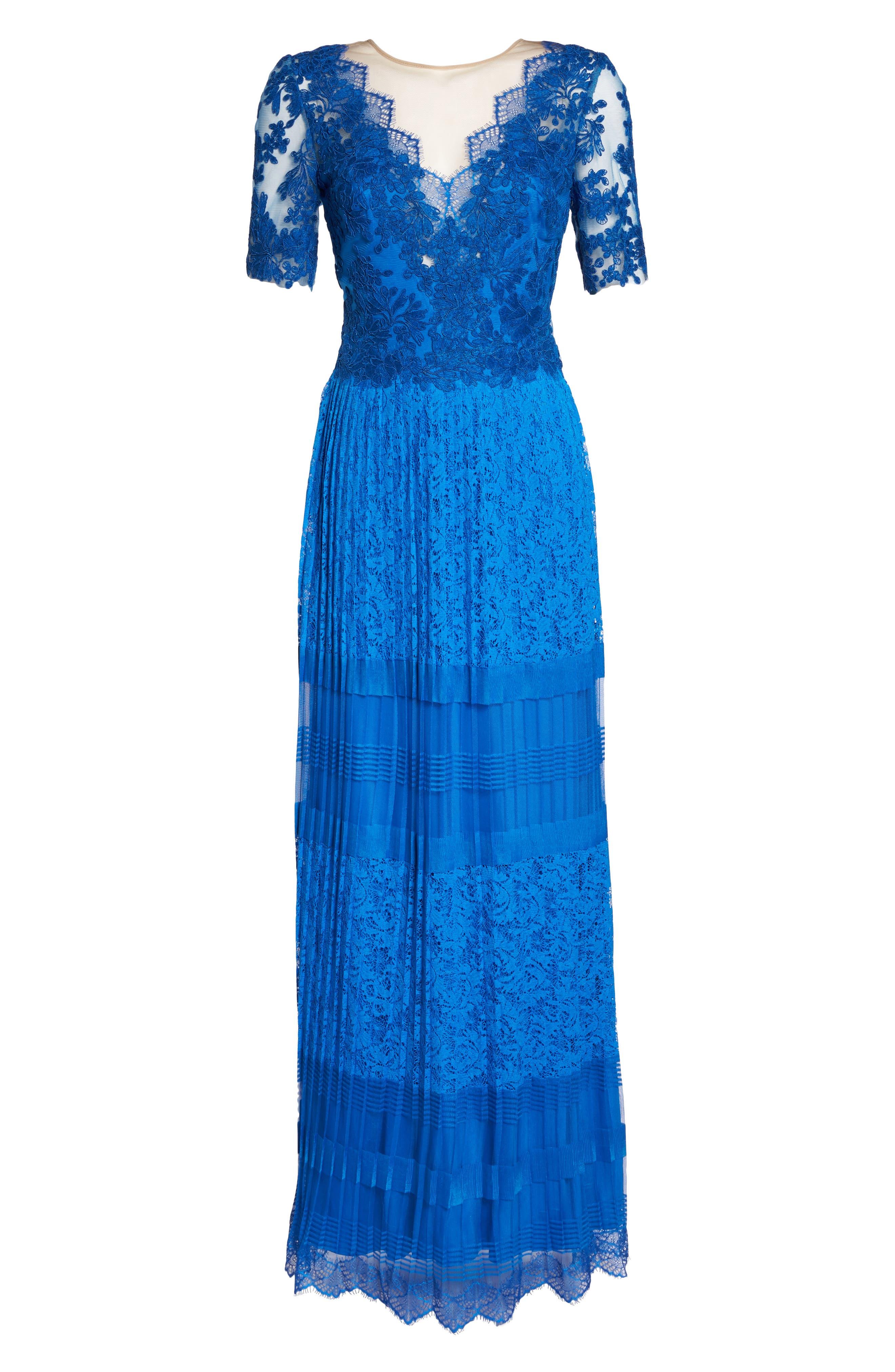 Pleat Lace Gown,                             Alternate thumbnail 6, color,                             Azure