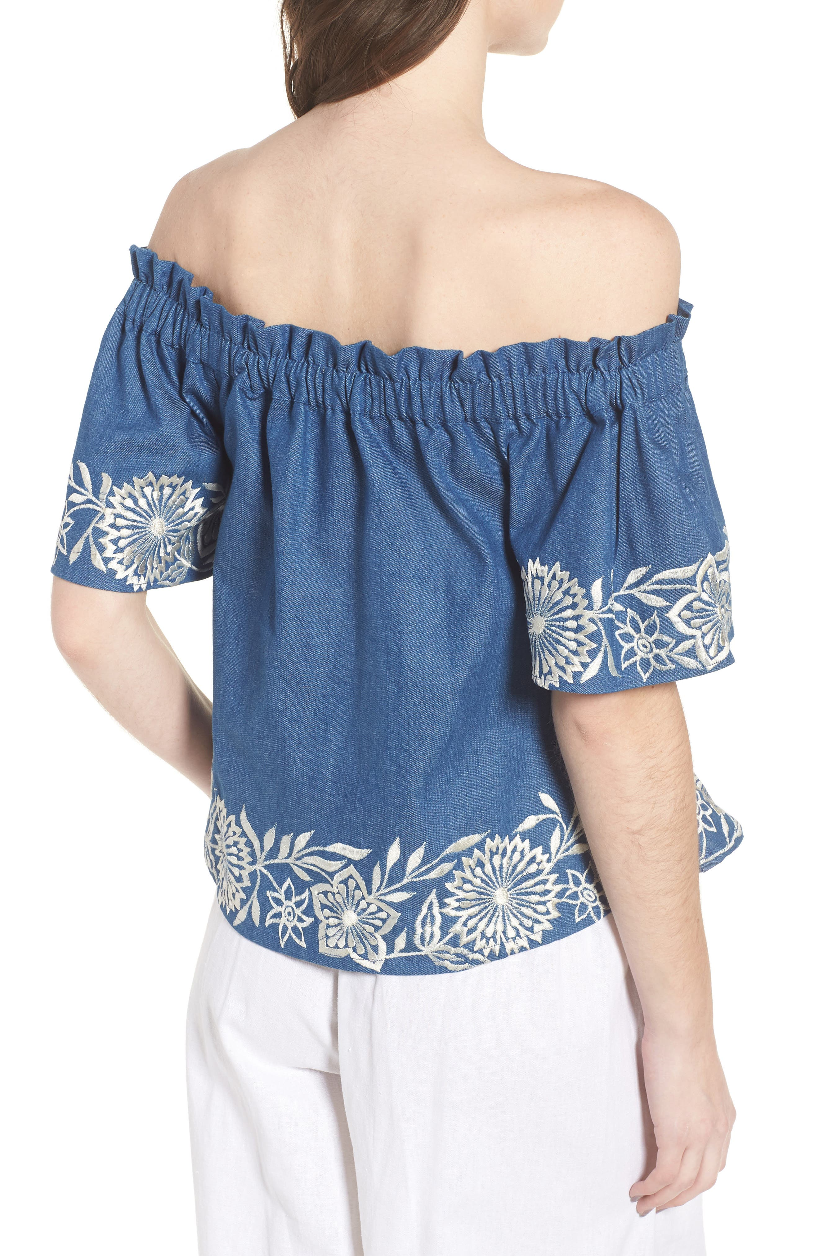 Nisi Embroidered Off the Shoulder Top,                             Alternate thumbnail 2, color,                             Blue