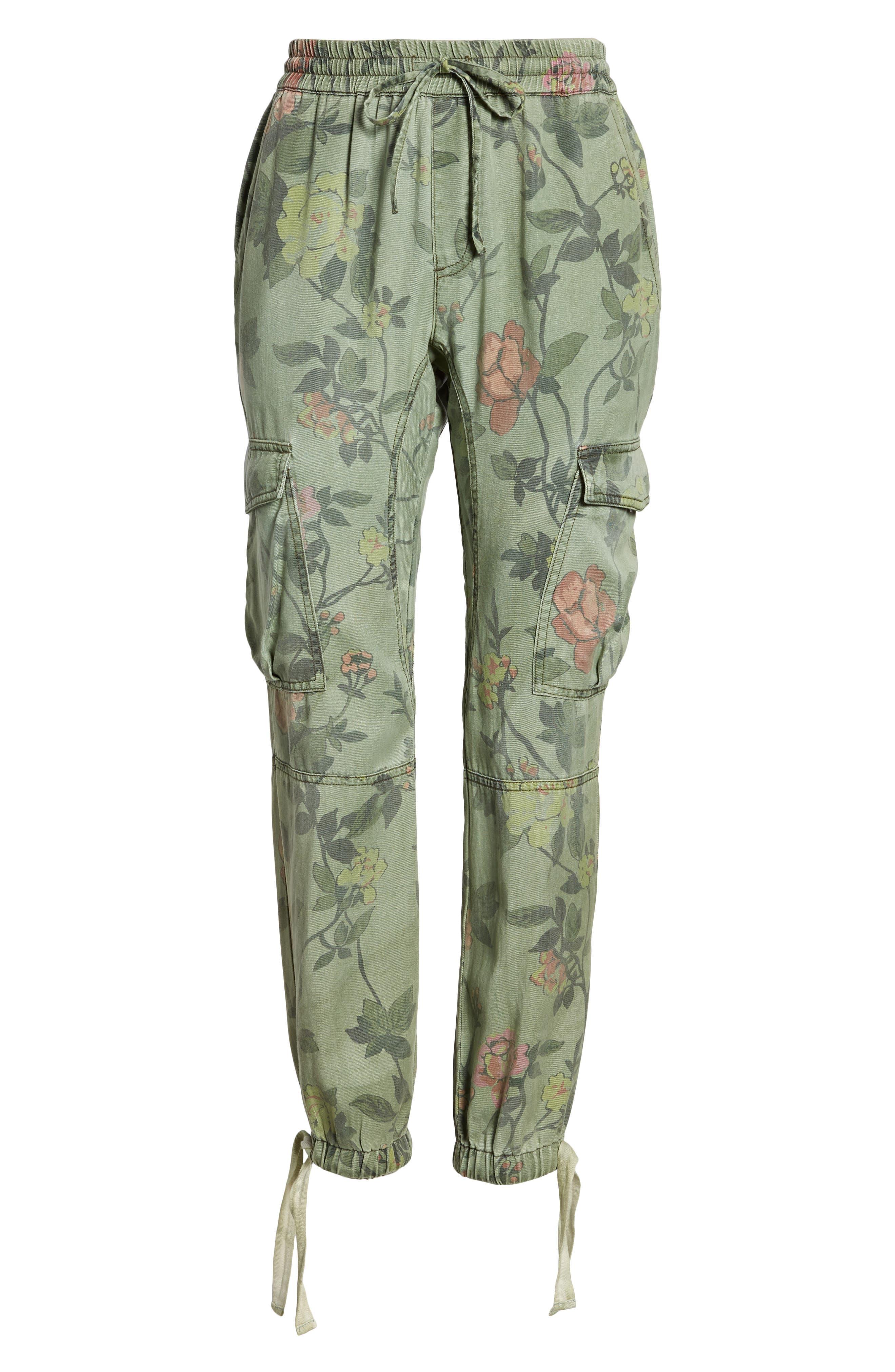 Floral Cargo Pants,                             Alternate thumbnail 7, color,                             Wallflower Print