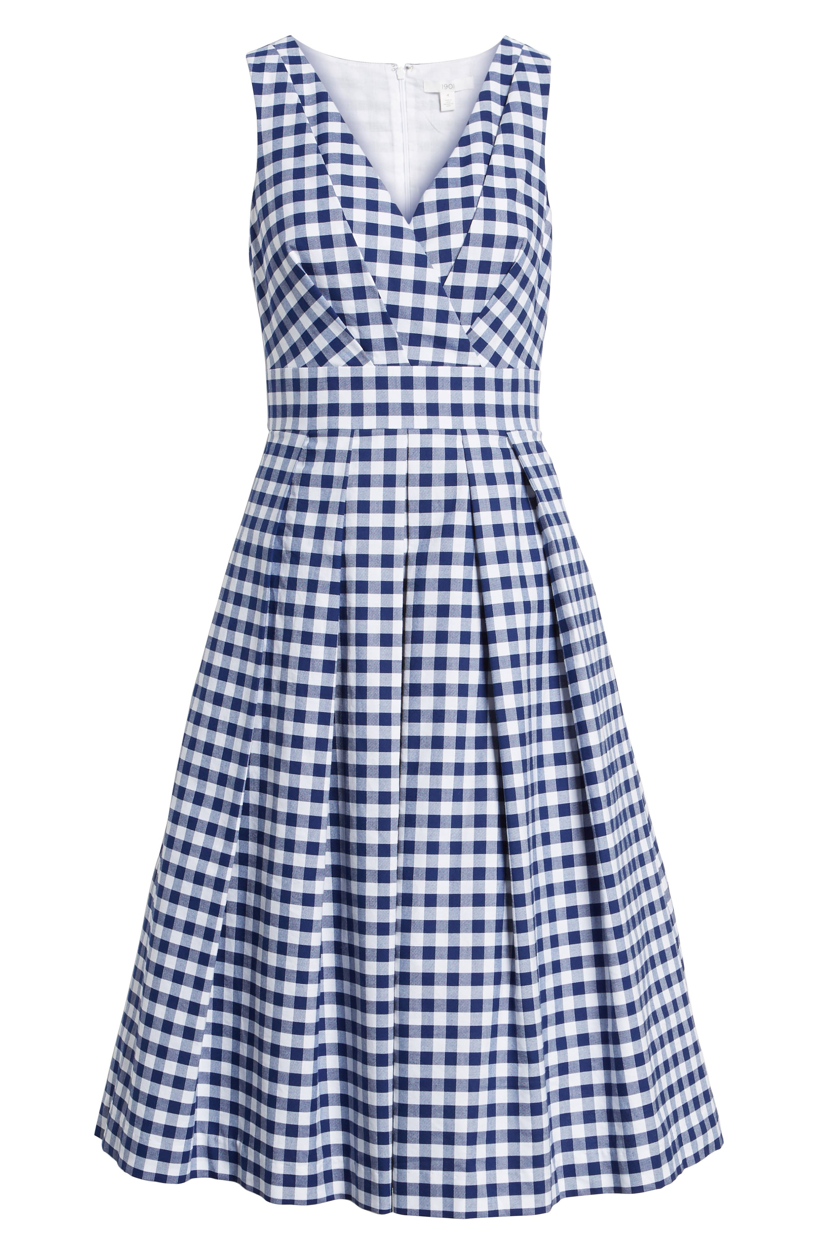 Gingham Fit & Flare Midi Dress,                             Alternate thumbnail 6, color,                             Navy Gingham