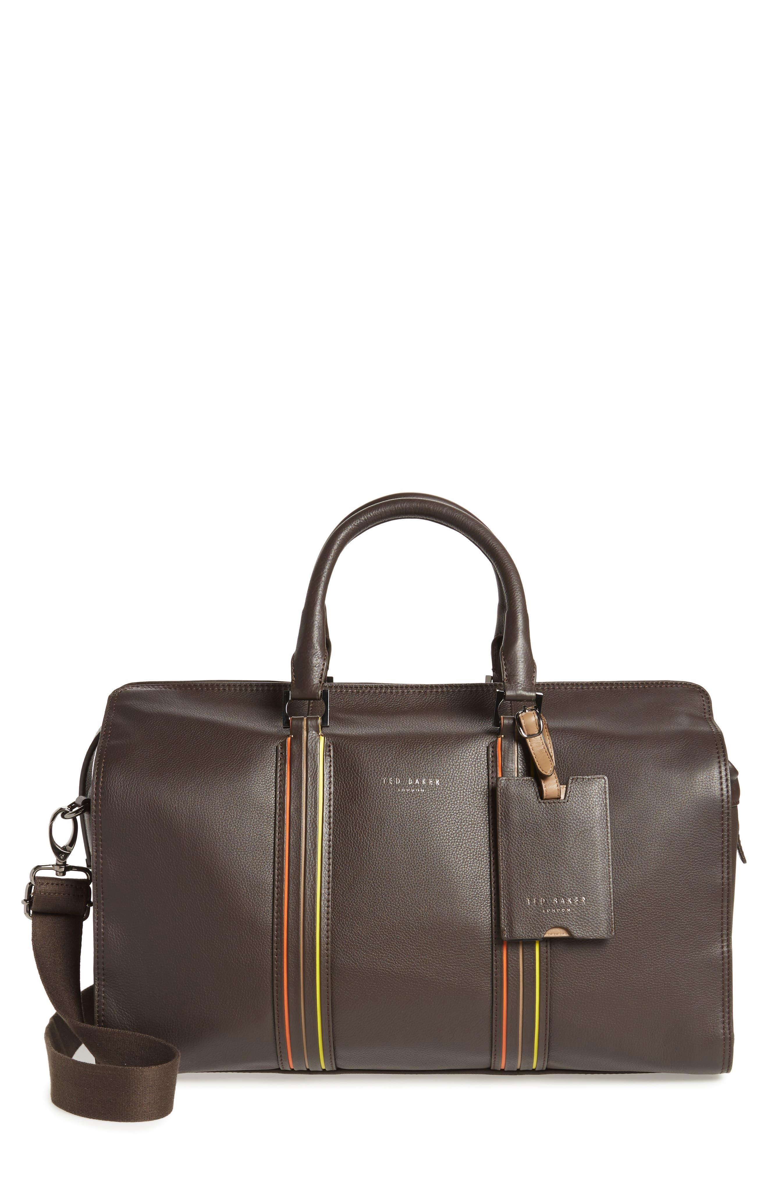 Ted Baker London Geeves Stripe Leather Duffel Bag