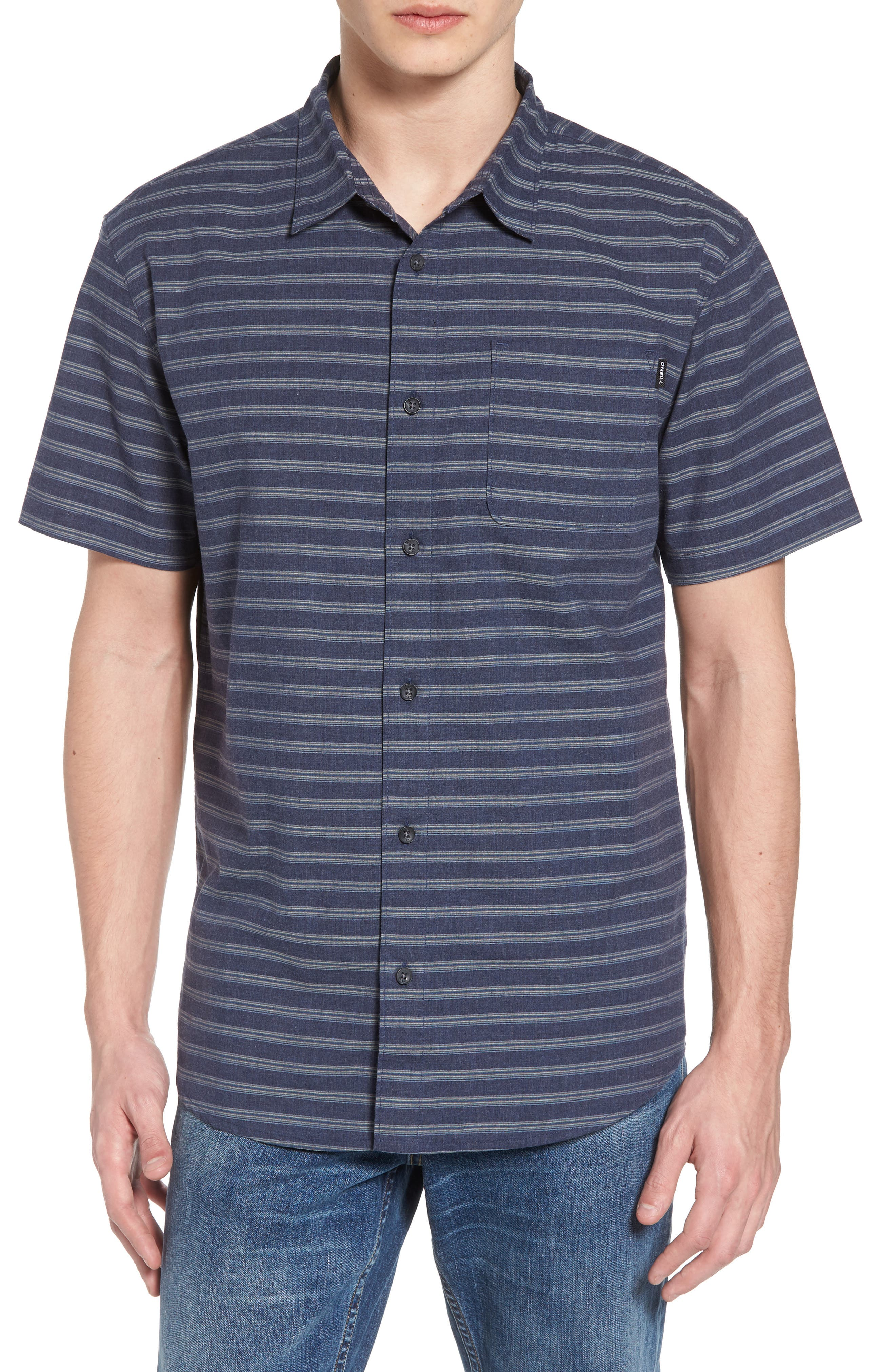 Stag Short Sleeve Shirt,                         Main,                         color, Navy