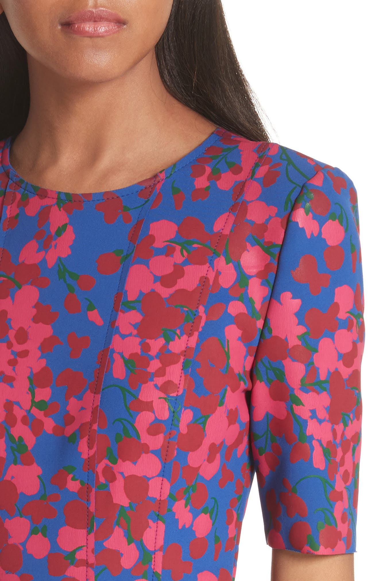 Knit Floral Print Dress,                             Alternate thumbnail 4, color,                             Persian Blue Multi