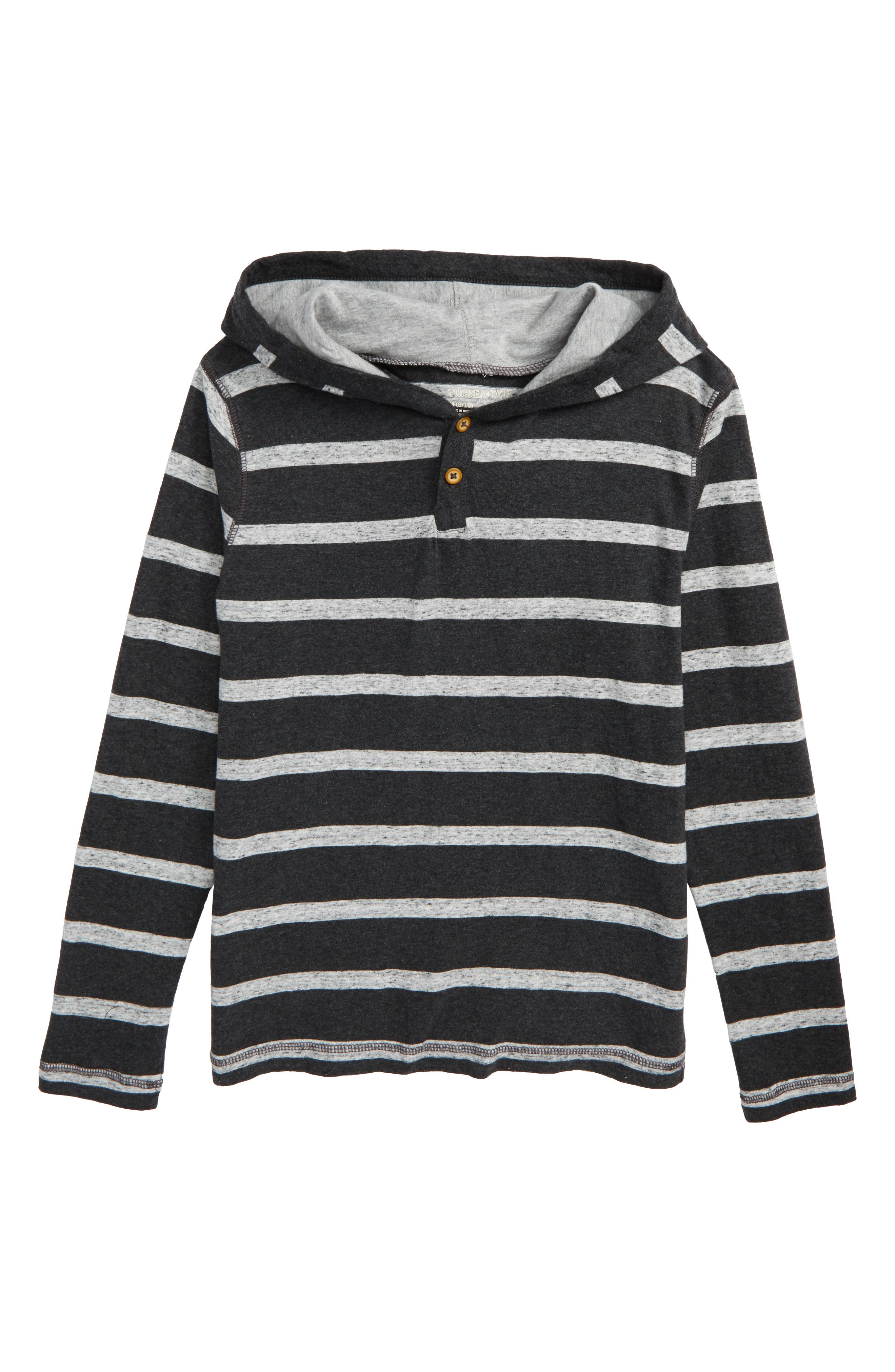 Stripe Hooded Henley,                             Main thumbnail 1, color,                             Grey Charcoal Heather- Grey
