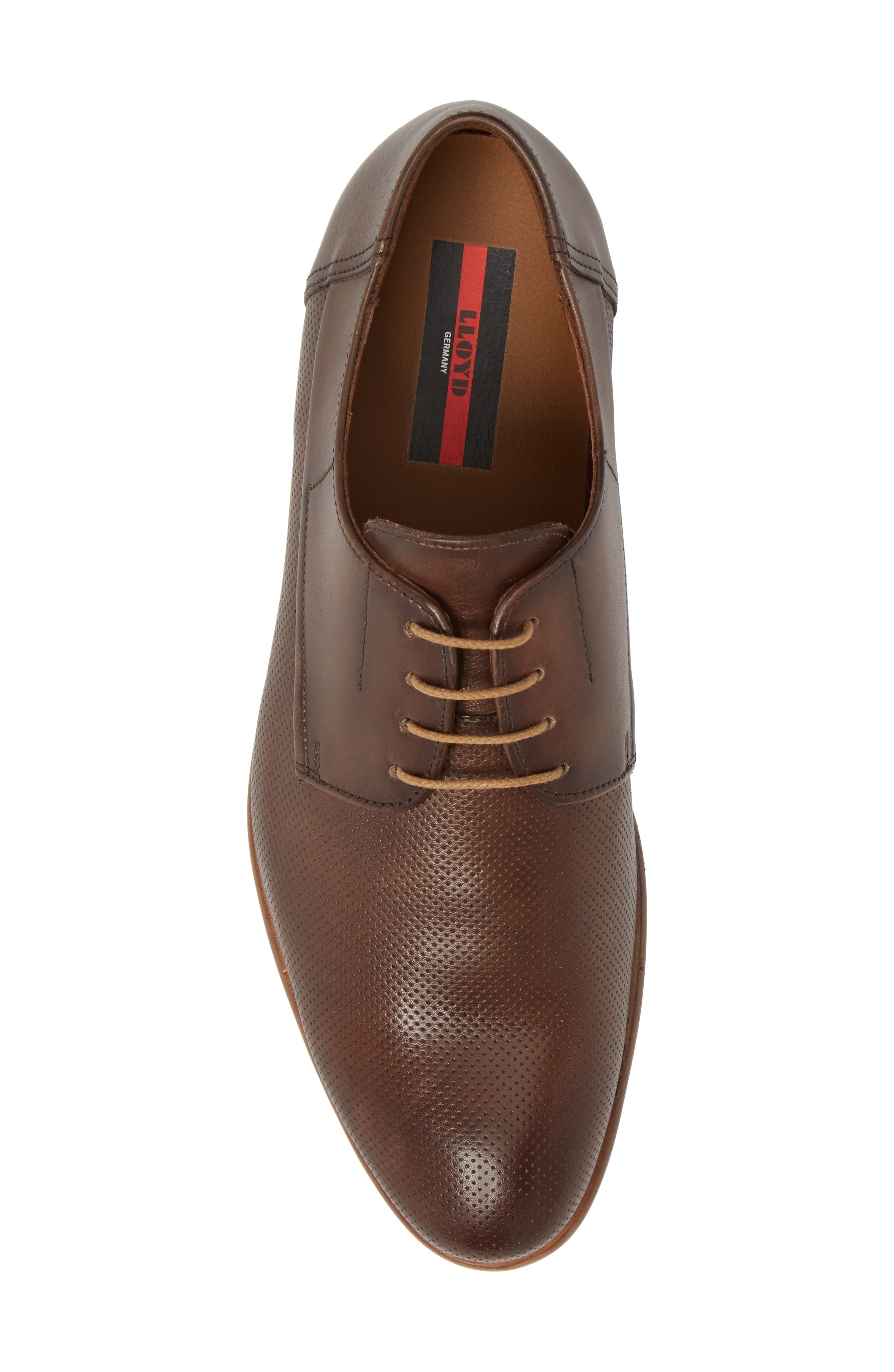 Napir Embossed Plain Toe Derby,                             Alternate thumbnail 5, color,                             Cigar Leather