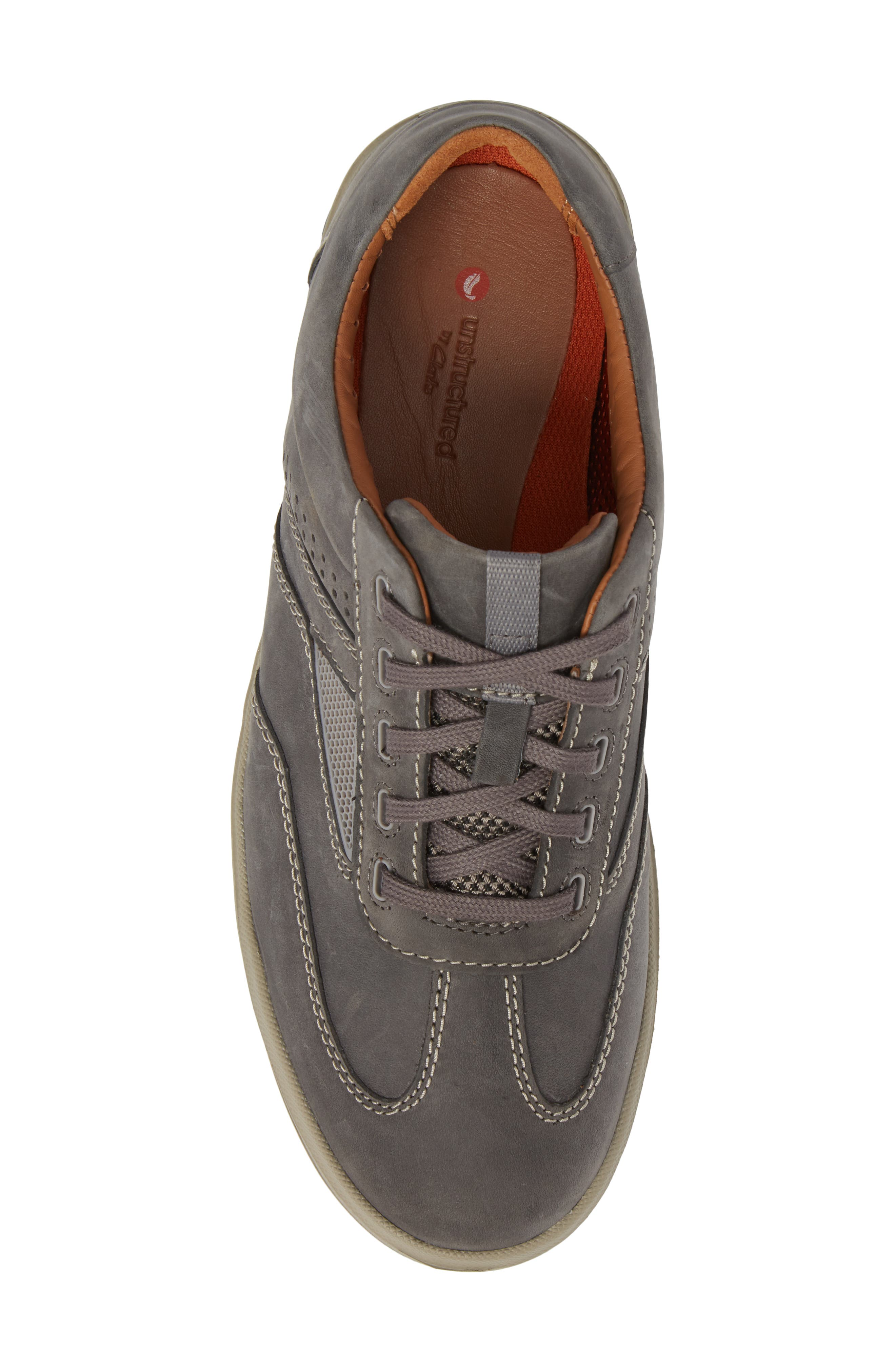Unrhombus Low Top Sneaker,                             Alternate thumbnail 5, color,                             Dark Grey Leather