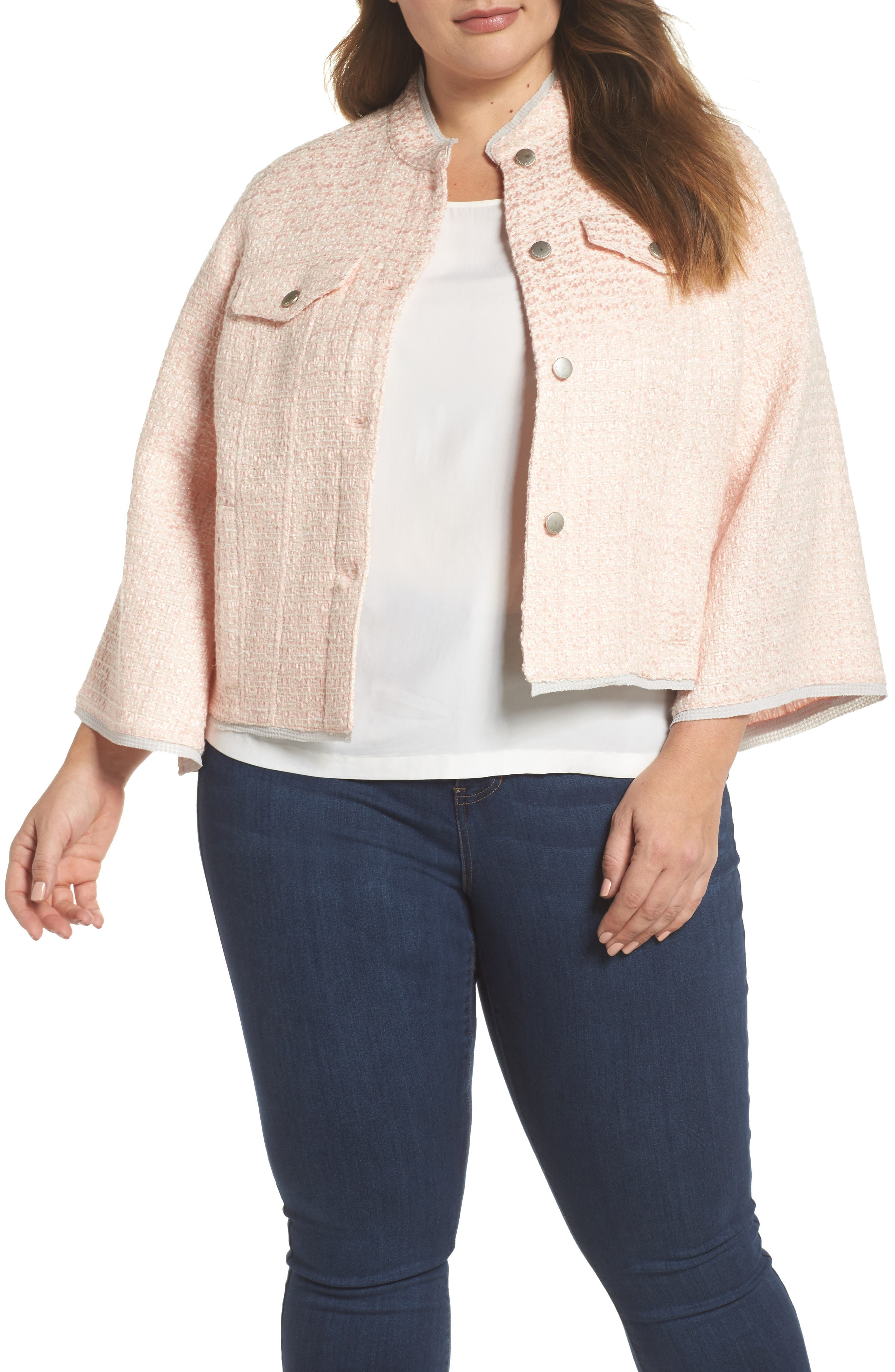 Bell Sleeve Crop Tweed Jacket,                             Main thumbnail 1, color,                             Ice Pink Combo
