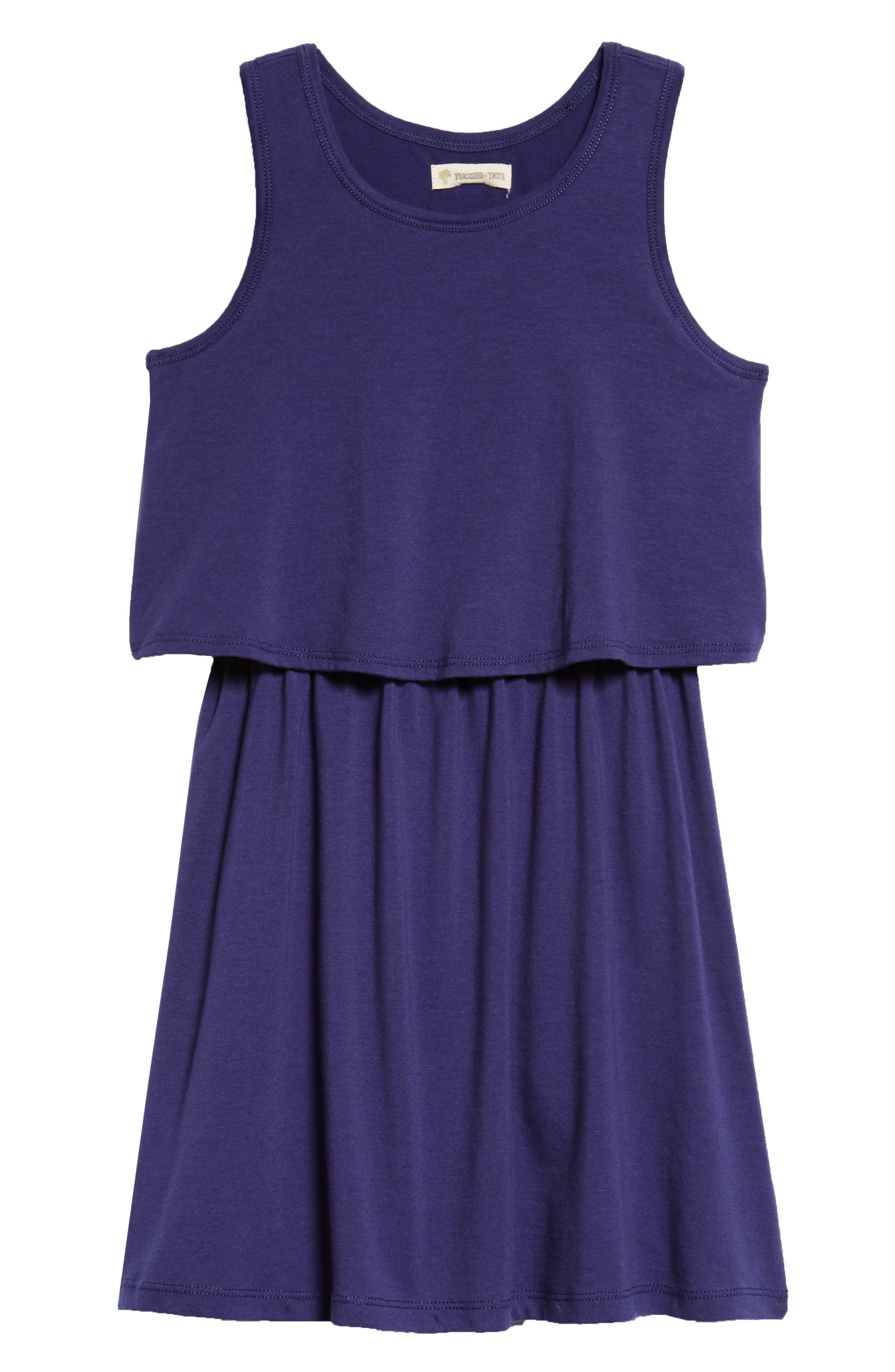 Popover Knit Tank Dress,                         Main,                         color, Navy Ribbon