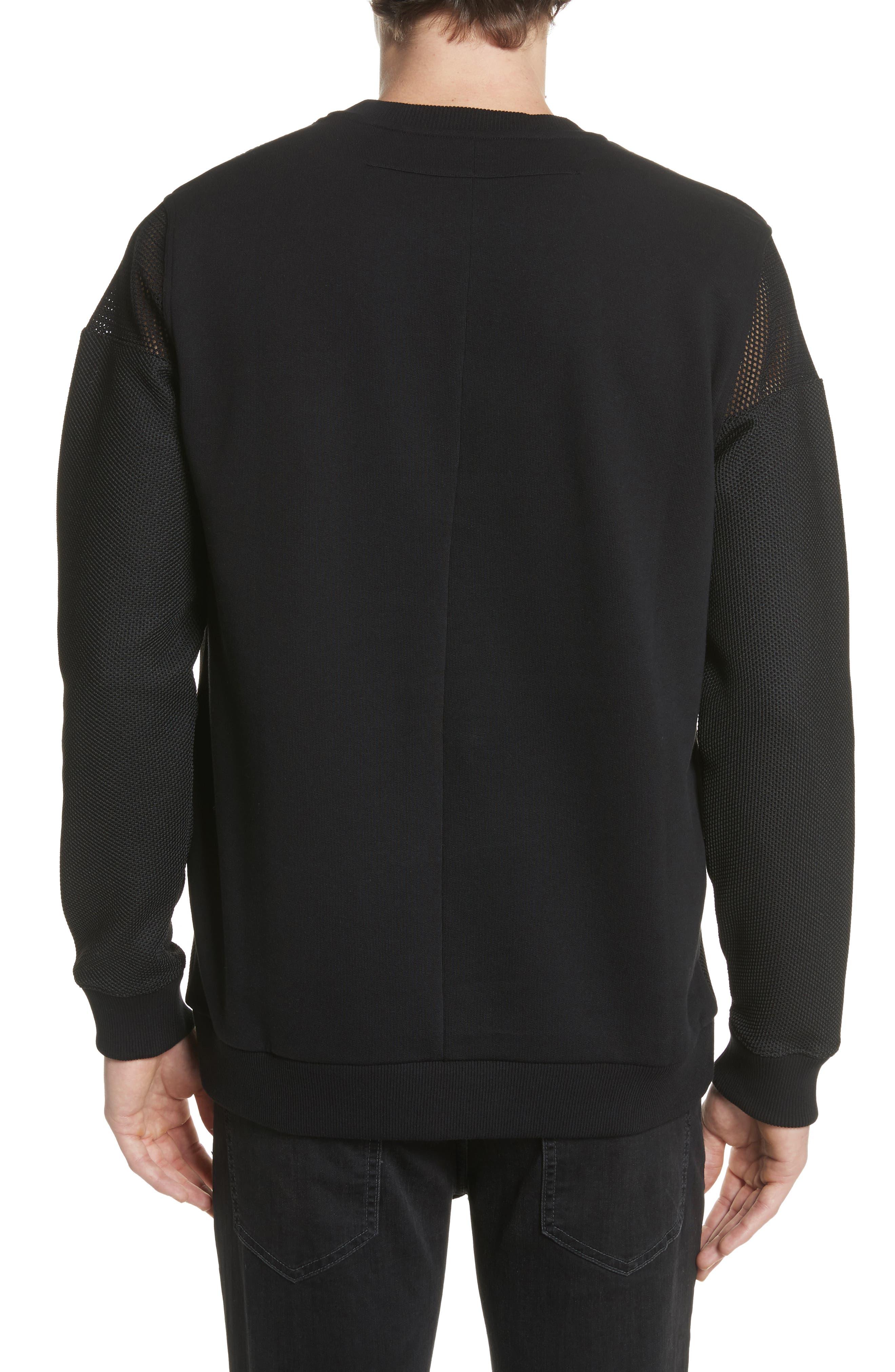 Mesh Star Crewneck Sweatshirt,                             Alternate thumbnail 2, color,                             Black