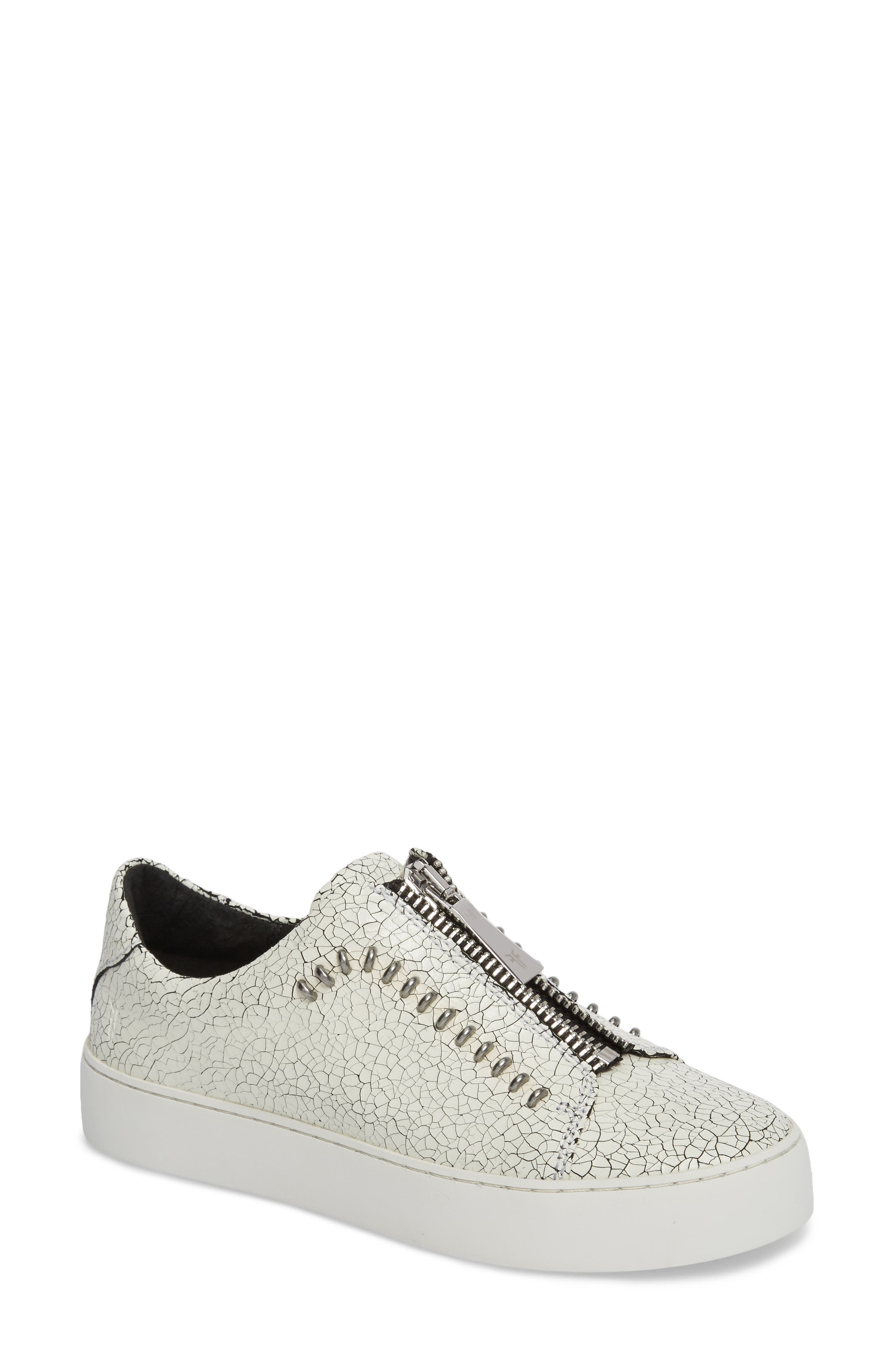 Lena Rebel Zip Sneaker,                             Main thumbnail 1, color,                             White Leather