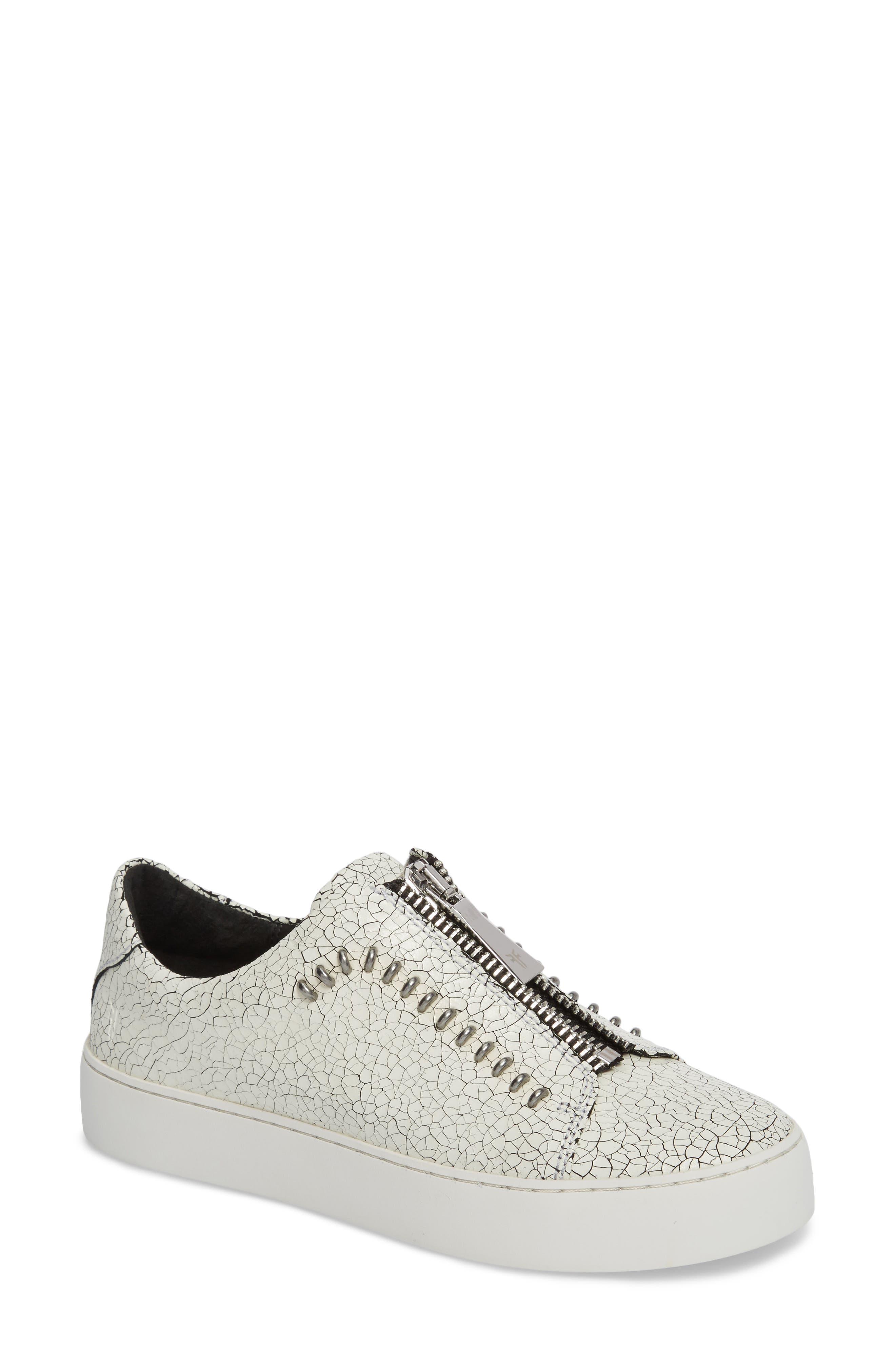 Lena Rebel Zip Sneaker,                         Main,                         color, White Leather