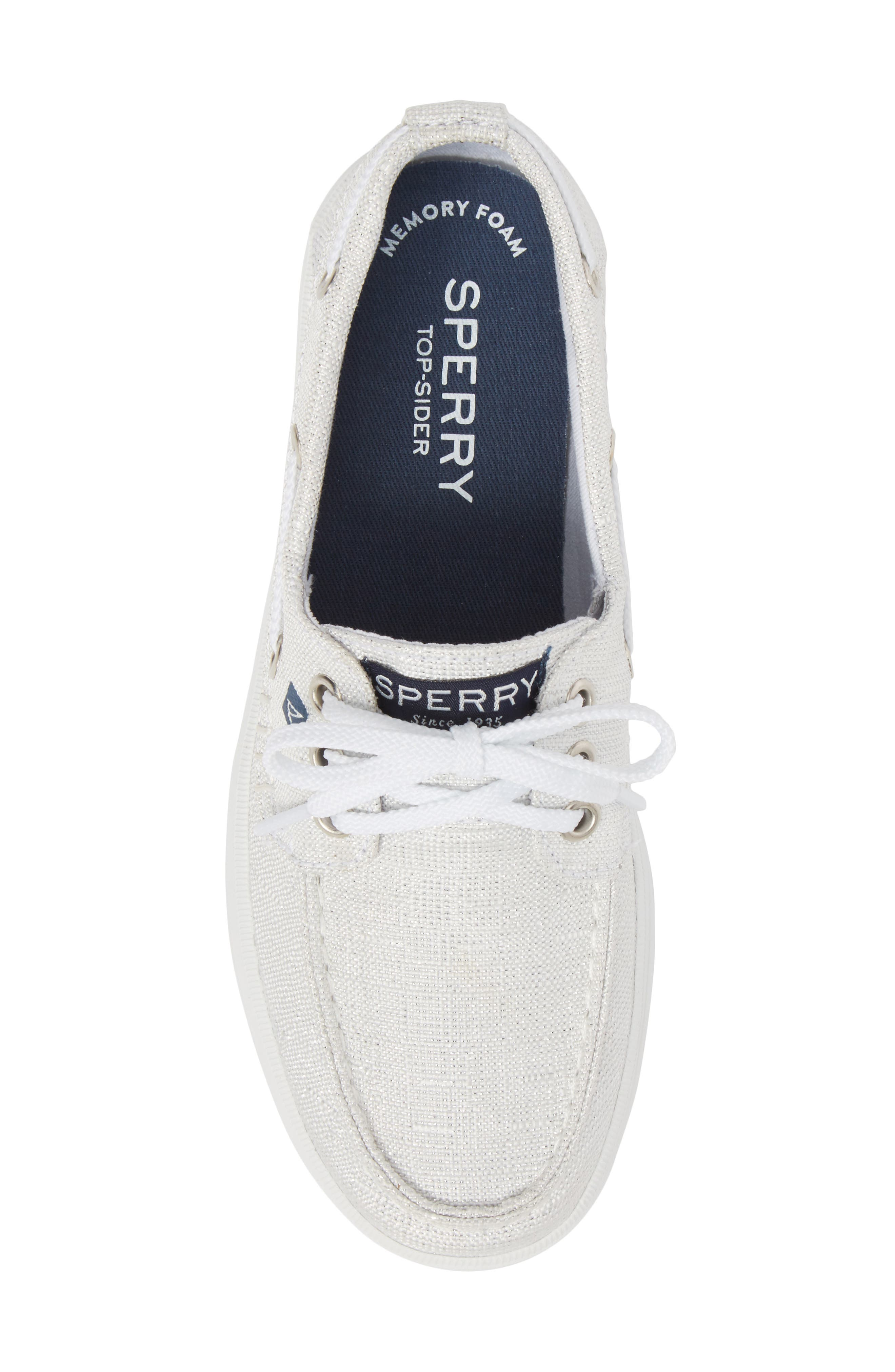 Crest Resort Boat Shoe,                             Alternate thumbnail 5, color,                             White/ Silver