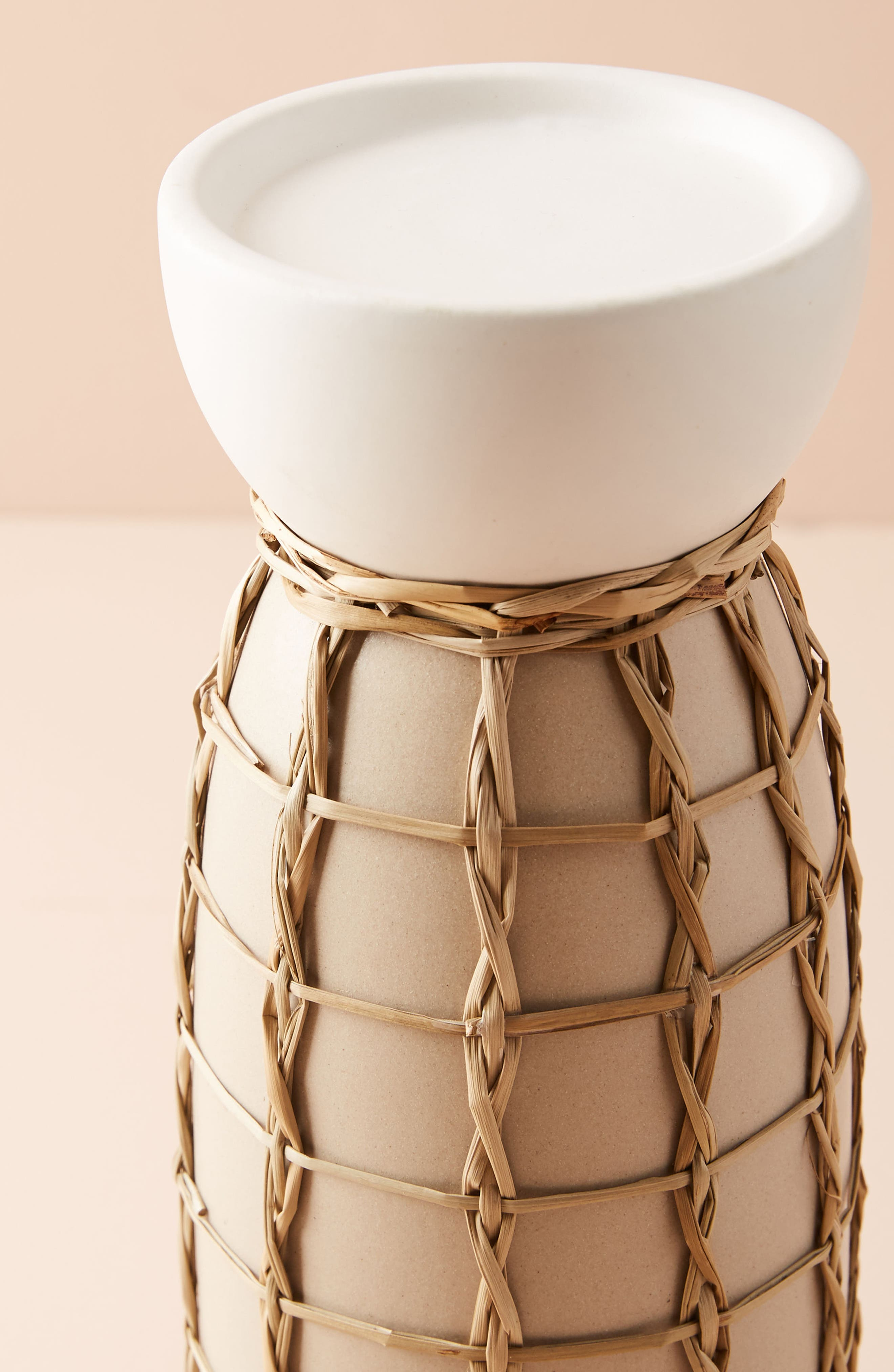 Wicker Pillar Candleholder,                             Alternate thumbnail 3, color,                             Cream - Large