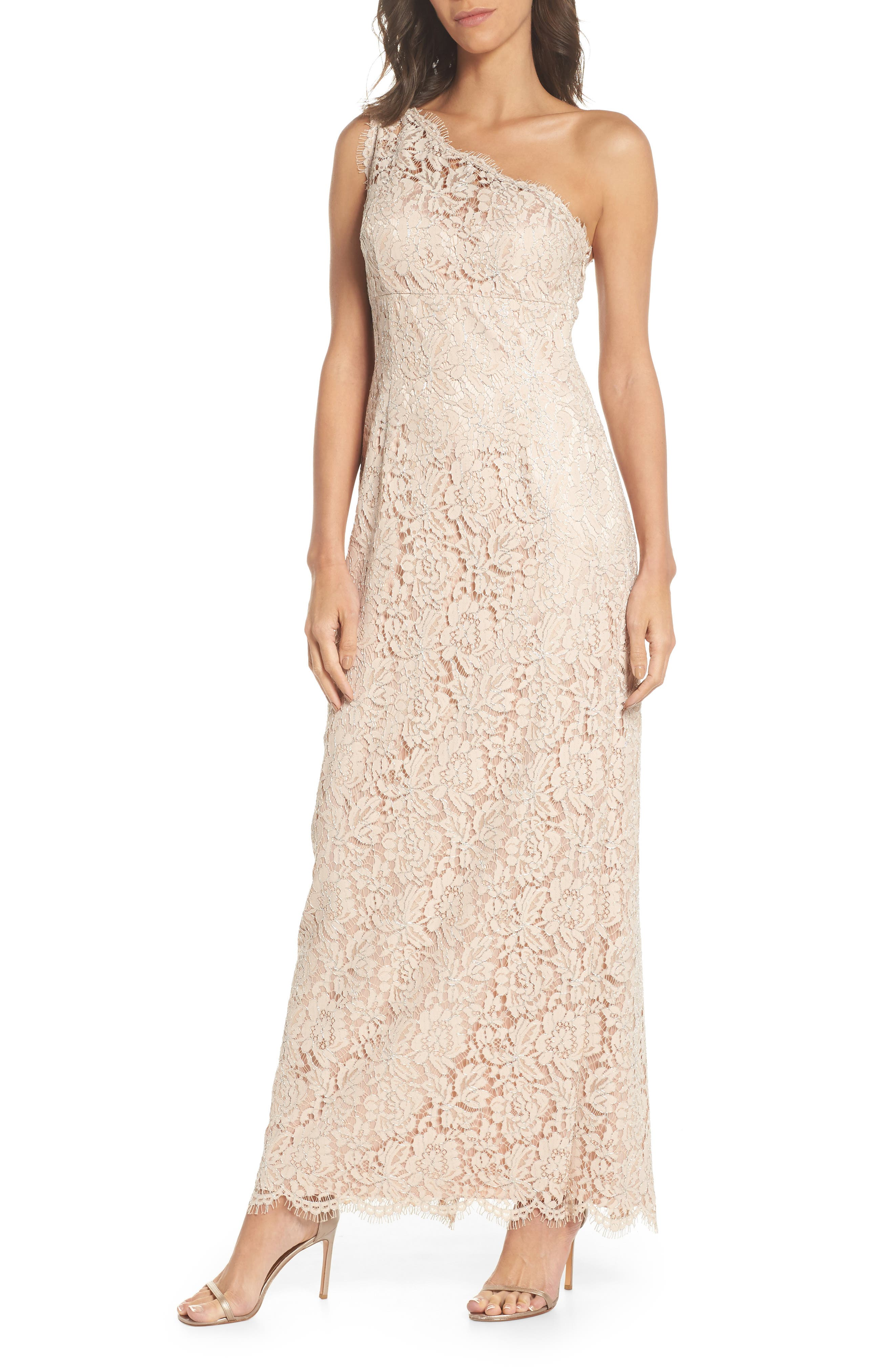 One-Shoulder Lace Gown,                         Main,                         color, Champagne