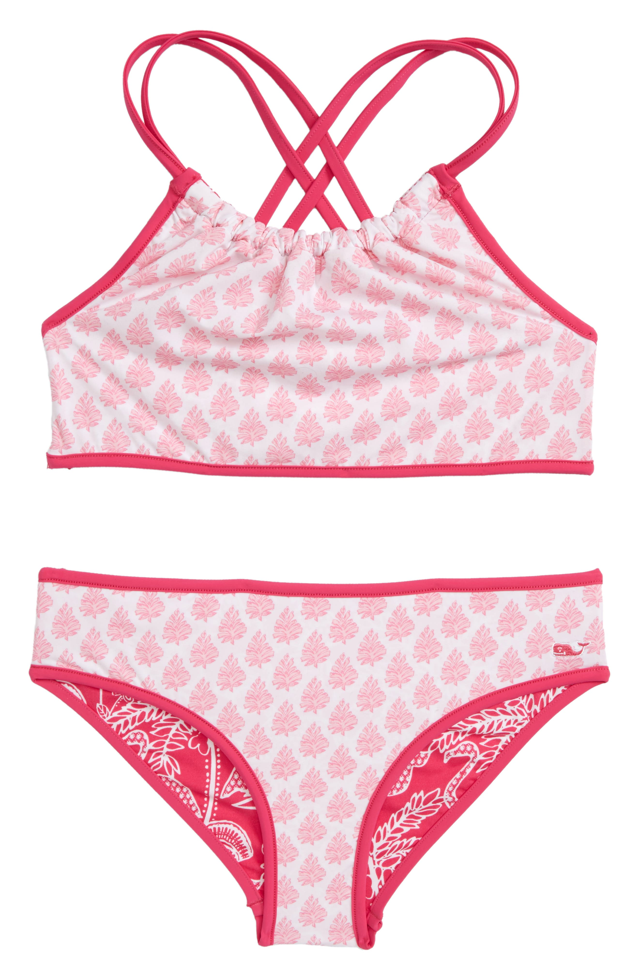 Flamingo Print Reversible Two-Piece Halter Swimsuit,                             Alternate thumbnail 2, color,                             Rhododendron