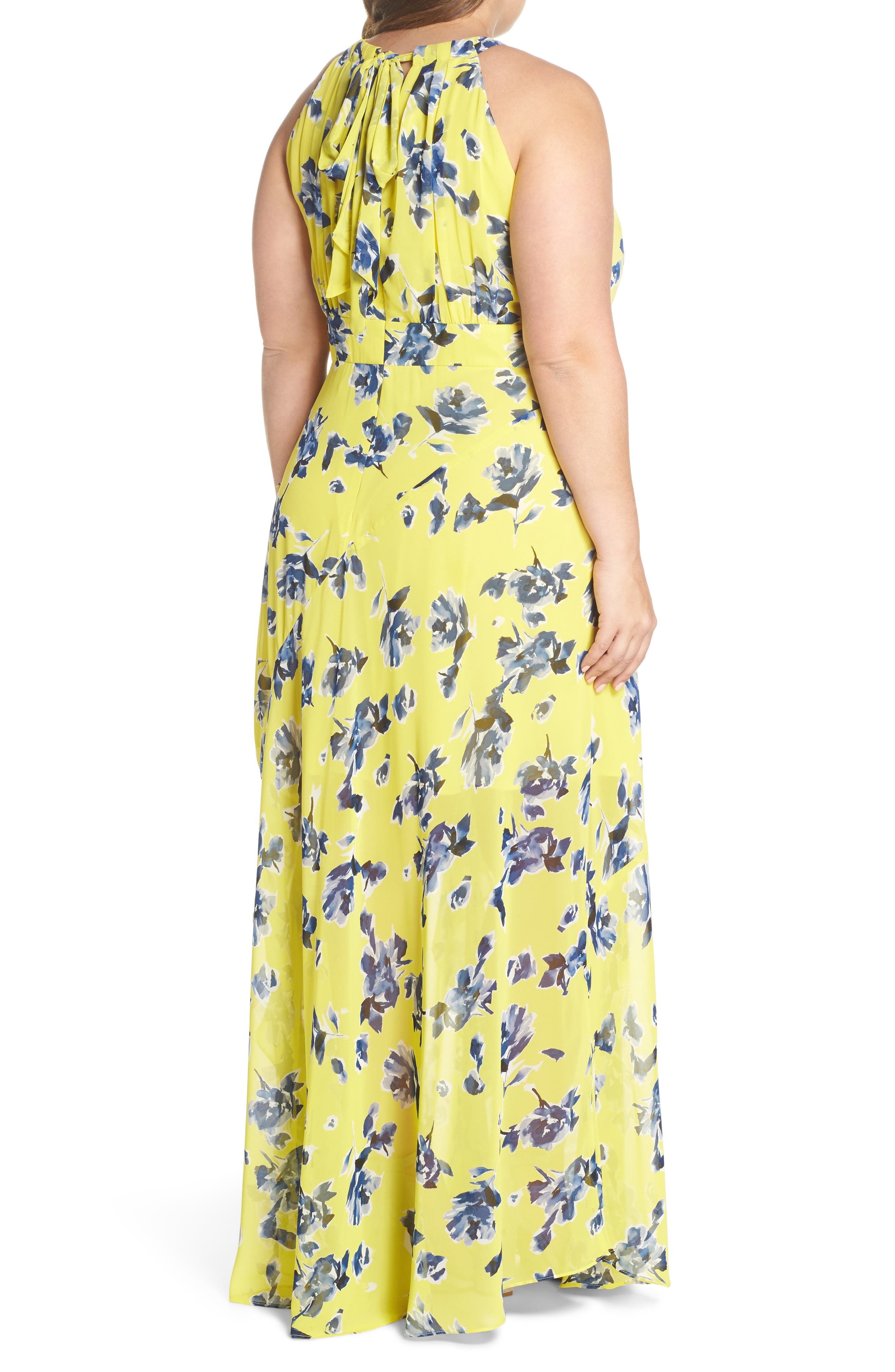Alternate Image 2  - Eliza J Floral Ruffle Halter Maxi Dress (Plus Size)