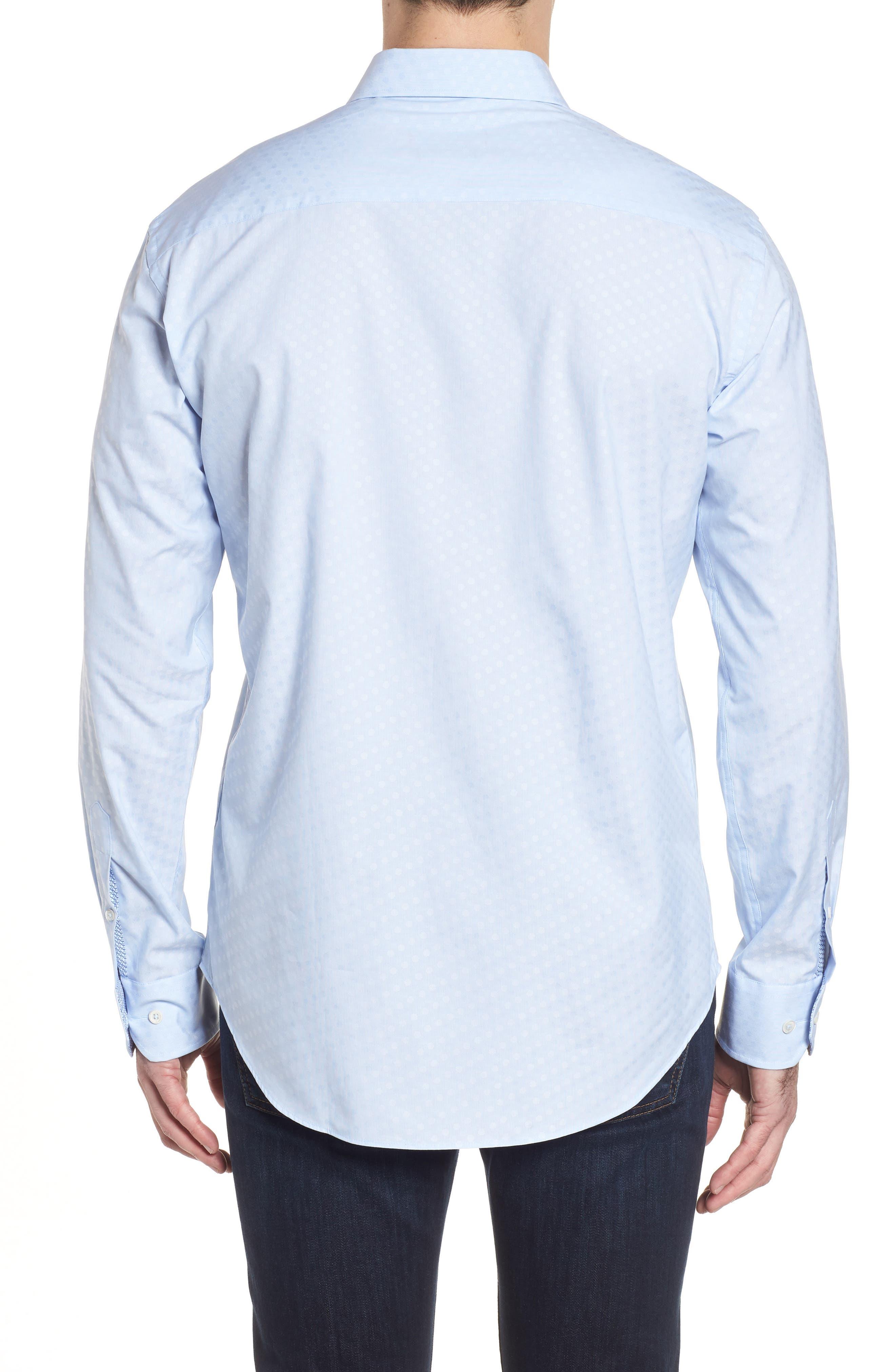 Shaped Fit Tonal Dots Sport Shirt,                             Alternate thumbnail 2, color,                             Sky
