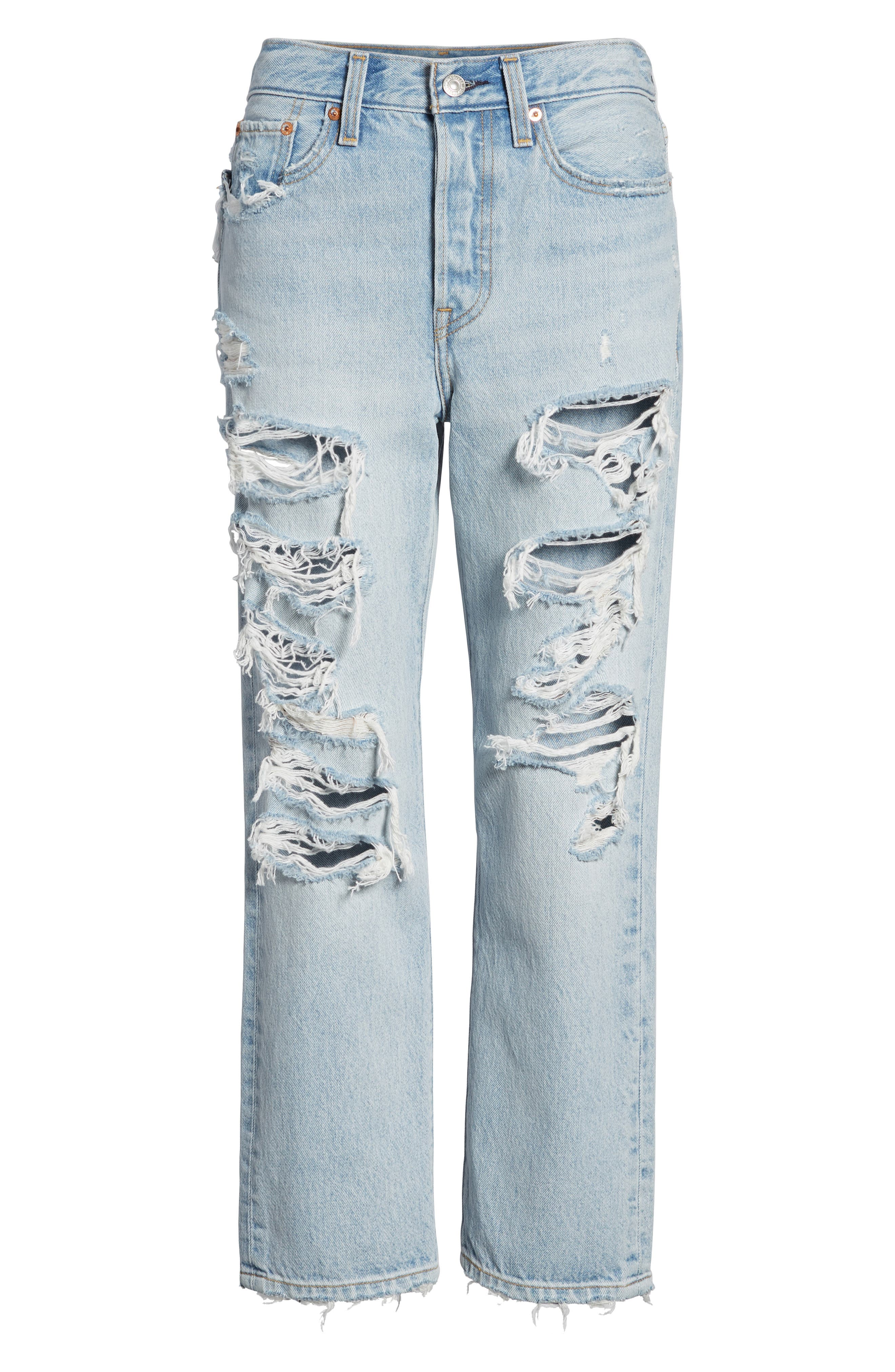 Wedgie High Waist Ripped Straight Jeans,                             Alternate thumbnail 7, color,                             Light Blue 1
